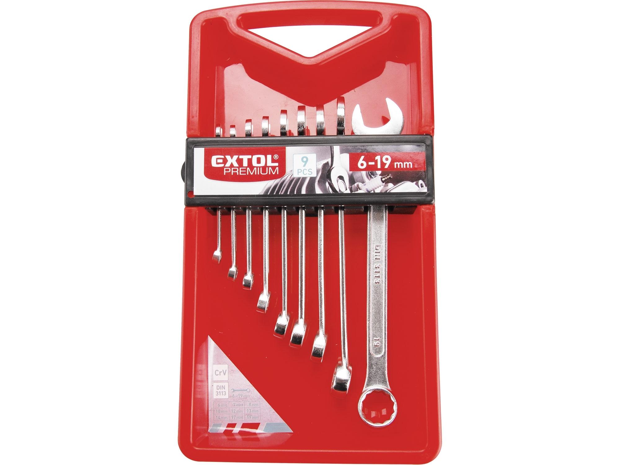 klíče očkoploché, sada 9ks, 6-19mm, EXTOL PREMIUM 6352