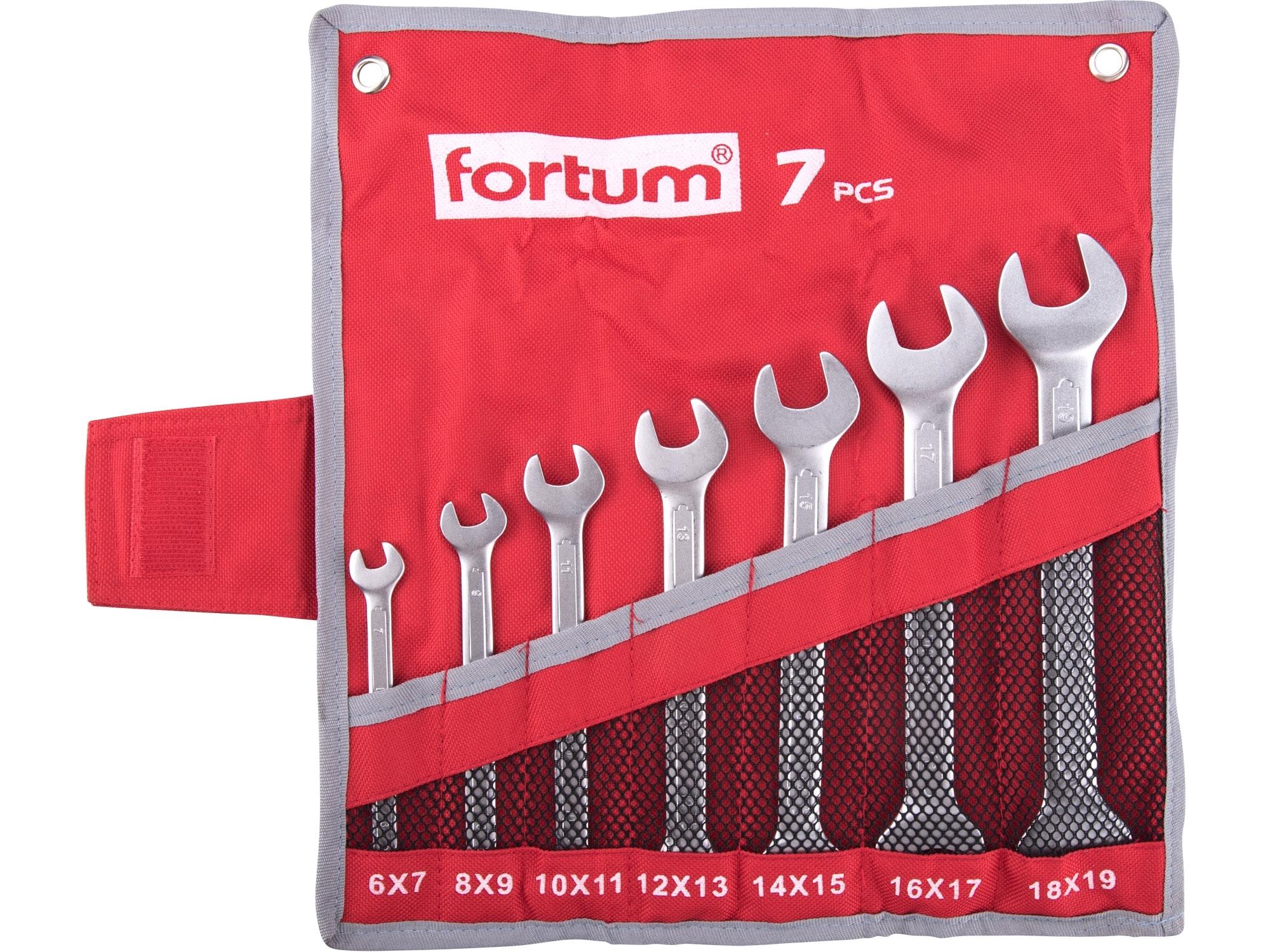 klíče ploché, sada 7ks, 6-19mm, FORTUM 4730103