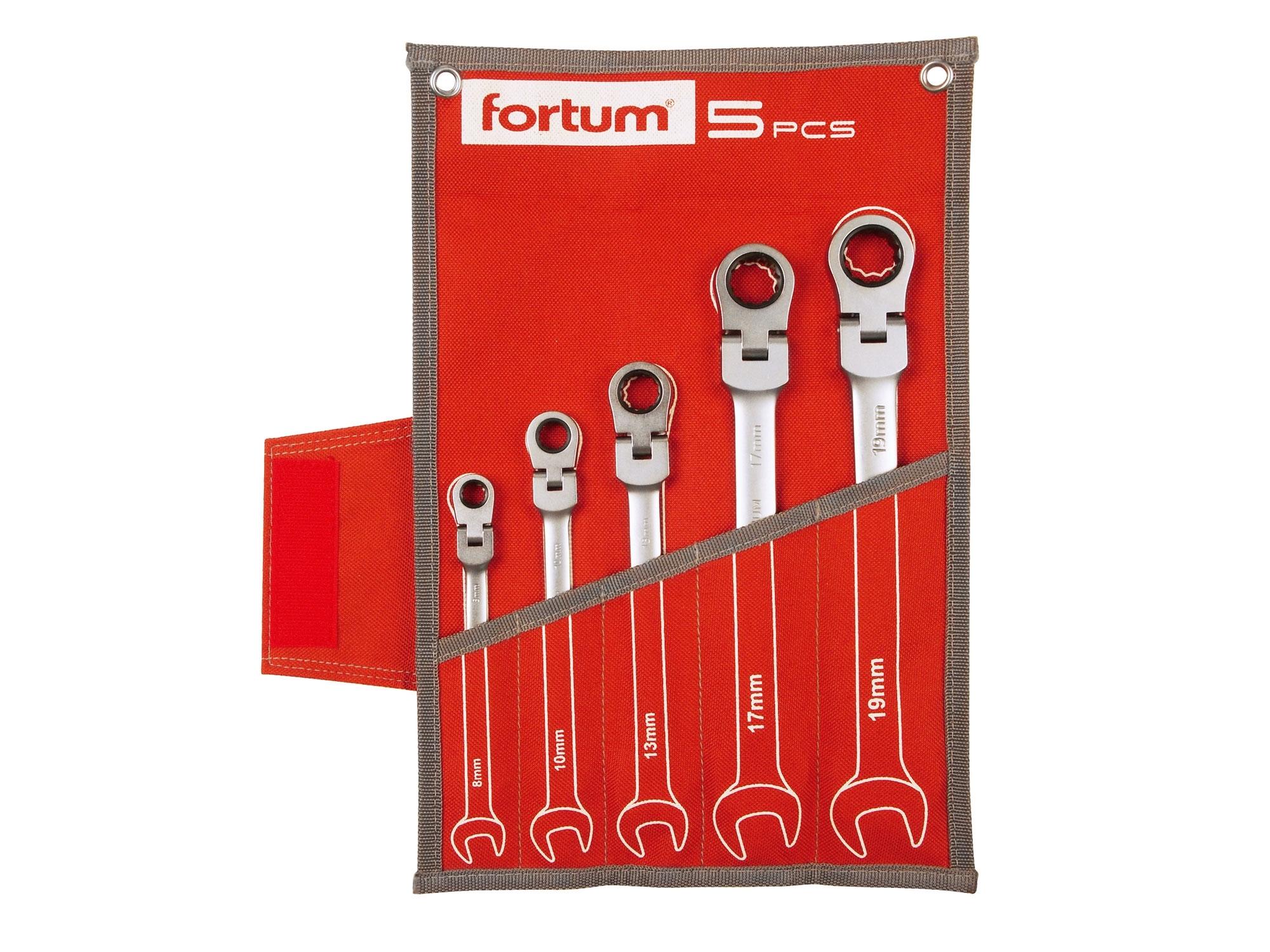 klíče ráčnové očkoploché s kloubem, sada 5ks, 8-19mm, FORTUM 4720201