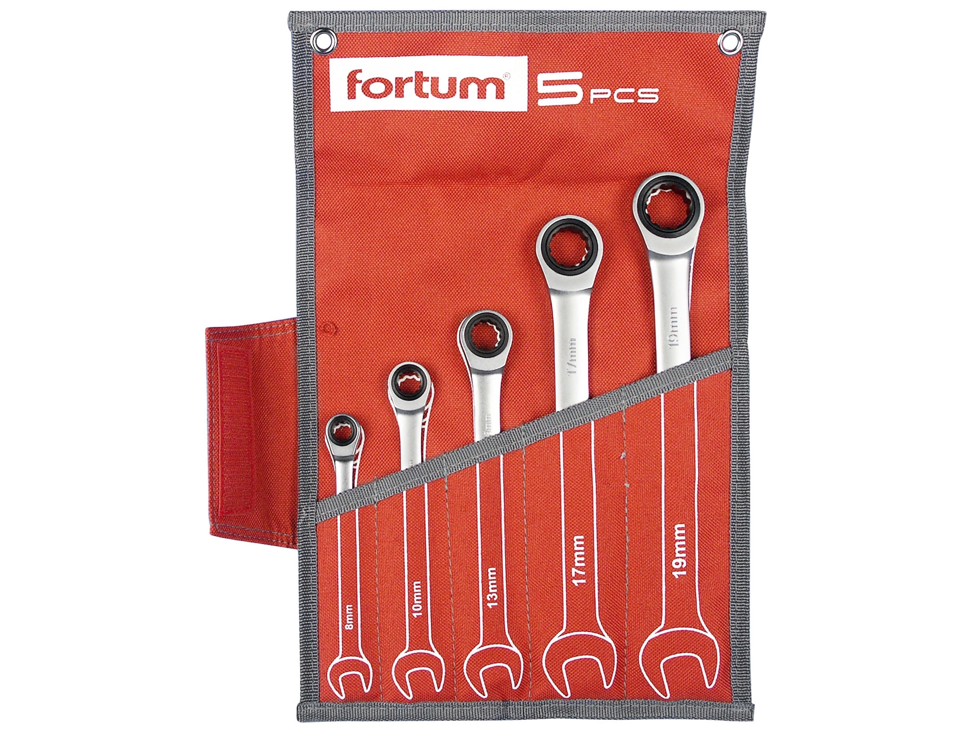 klíče ráčnové očkoploché, sada 5ks, 8-19mm, FORTUM 4720102