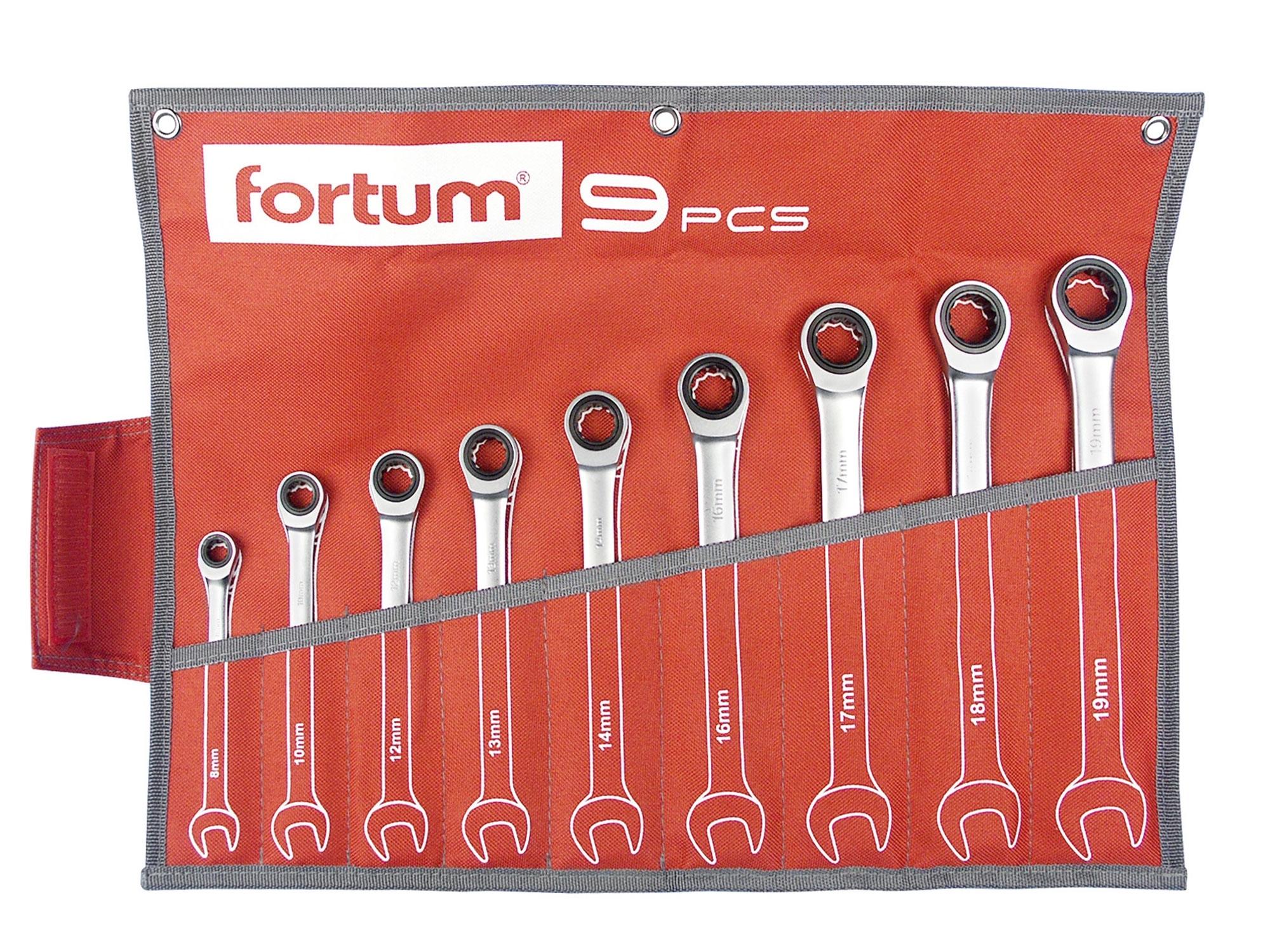 klíče ráčnové očkoploché, sada 9ks, 8-19mm, FORTUM 4720104