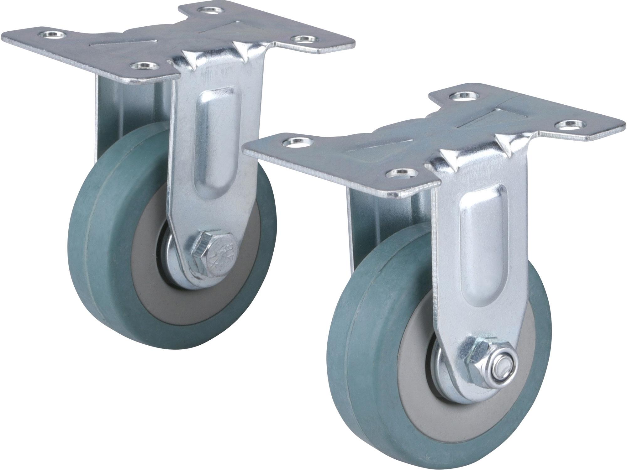 kolečka pevná s obručí ze šedé pryže, sada 2ks, průměr 50mm