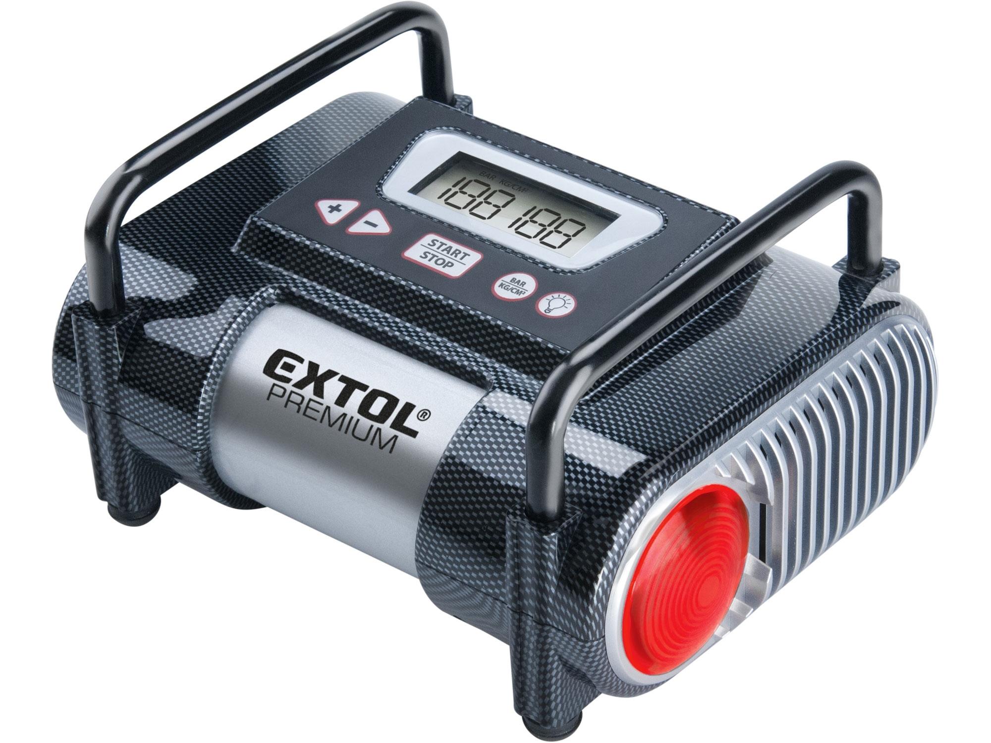 kompresor auto 12V, automatický s LCD a světlem, 12V, 6,9bar, EXTOL PREMIUM, CC 140 8864006
