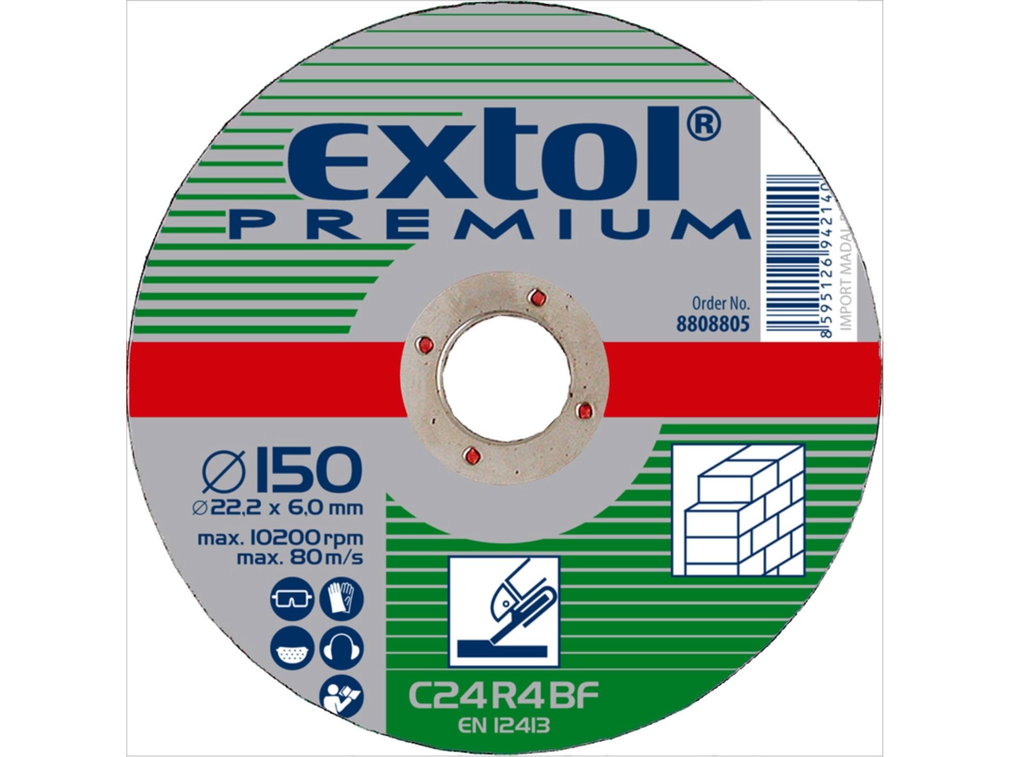 kotouč brusný na kámen, 150x6,0x22,2mm, EXTOL PREMIUM 8808805