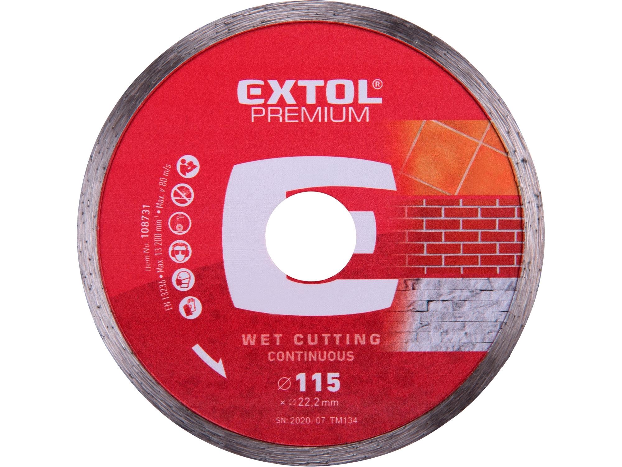 kotouč diamantový řezný celoobvodový - mokré řezání, 115x22,2mm, EXTOL PREMIUM 108731