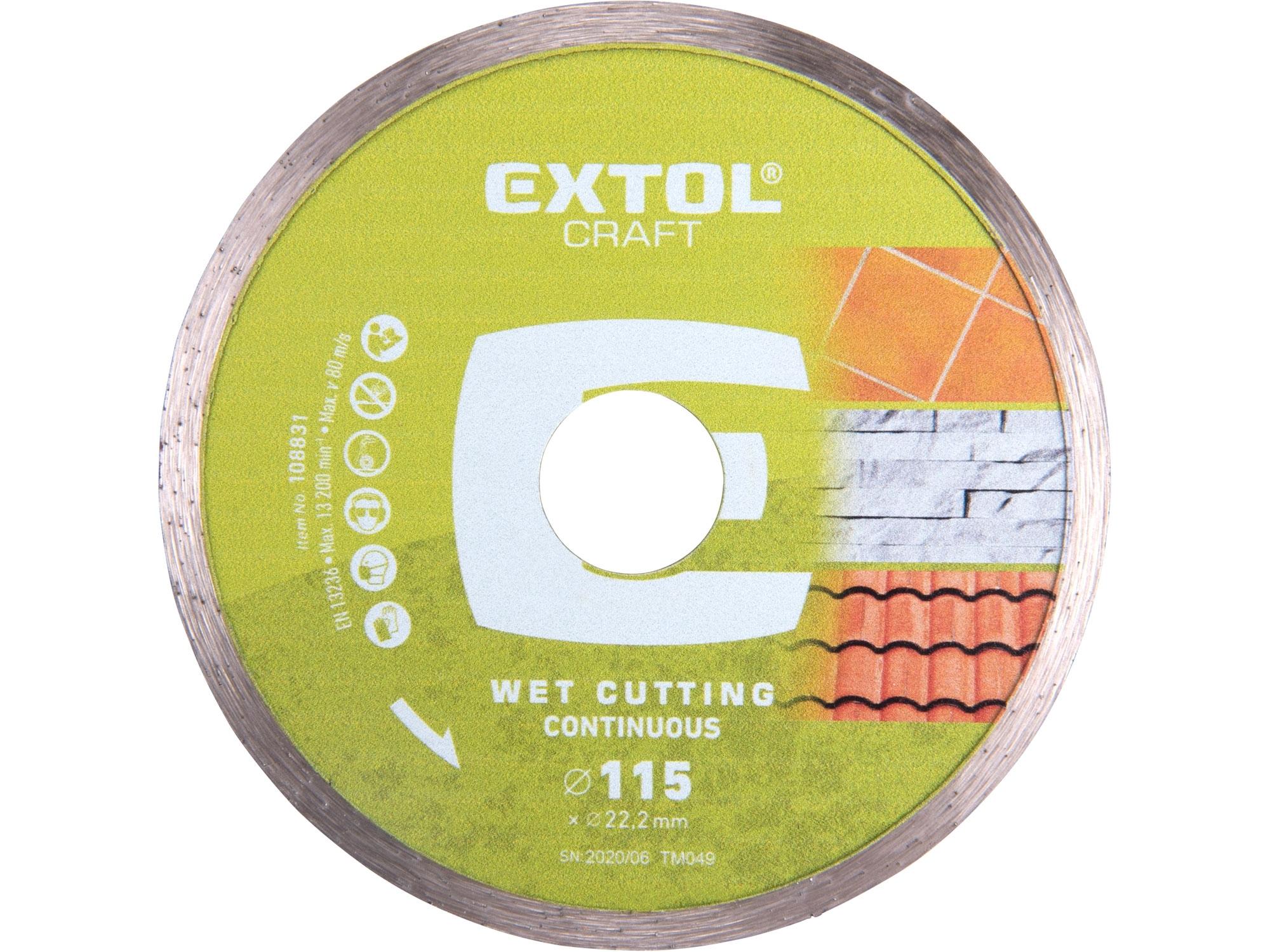 kotouč diamantový řezný celoobvodový - suché řezání, 115x22,2mm, EXTOL CRAFT 108831