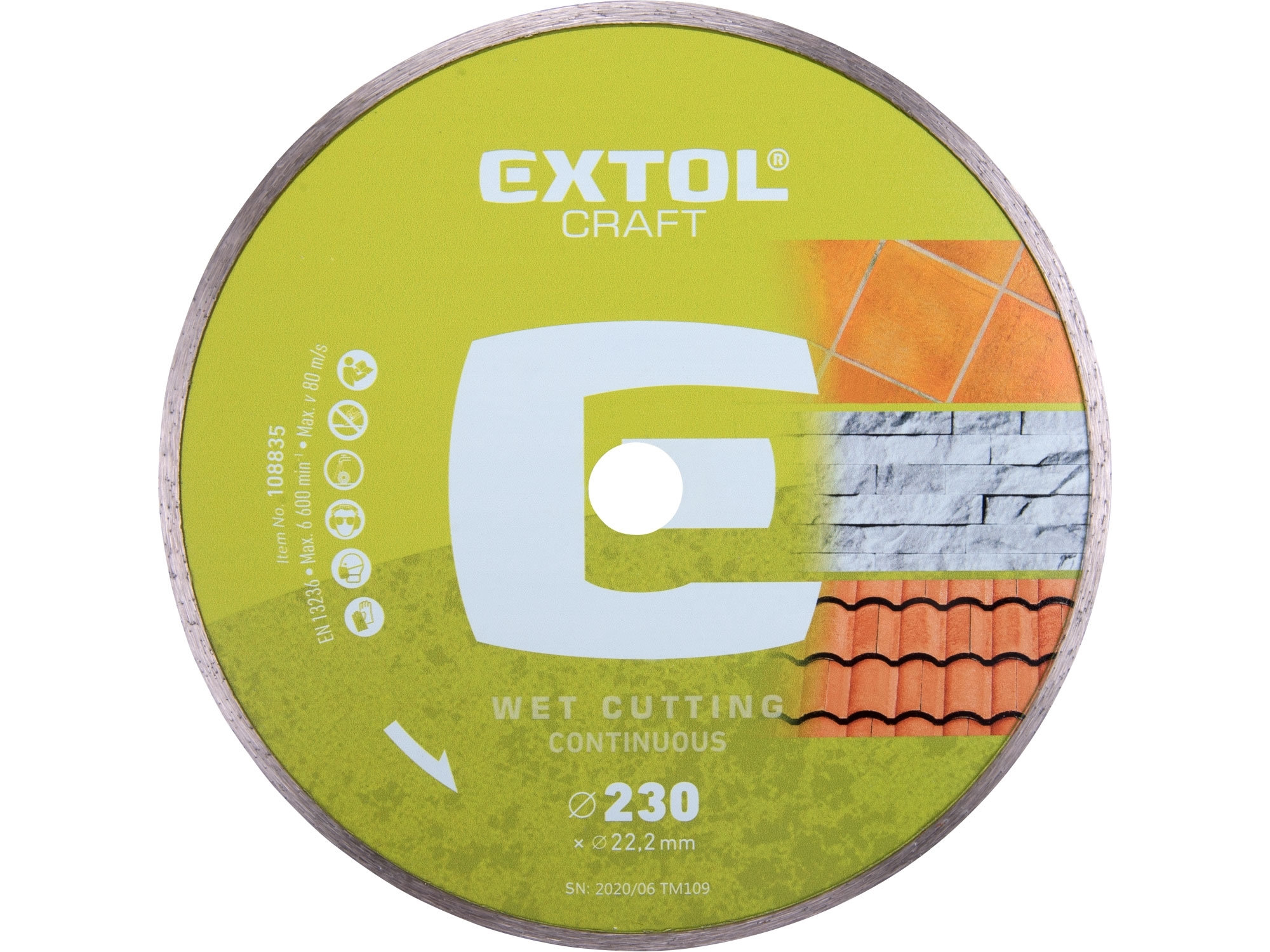 kotouč diamantový řezný celoobvodový - mokré řezání, 230x22,2mm, EXTOL CRAFT 108835