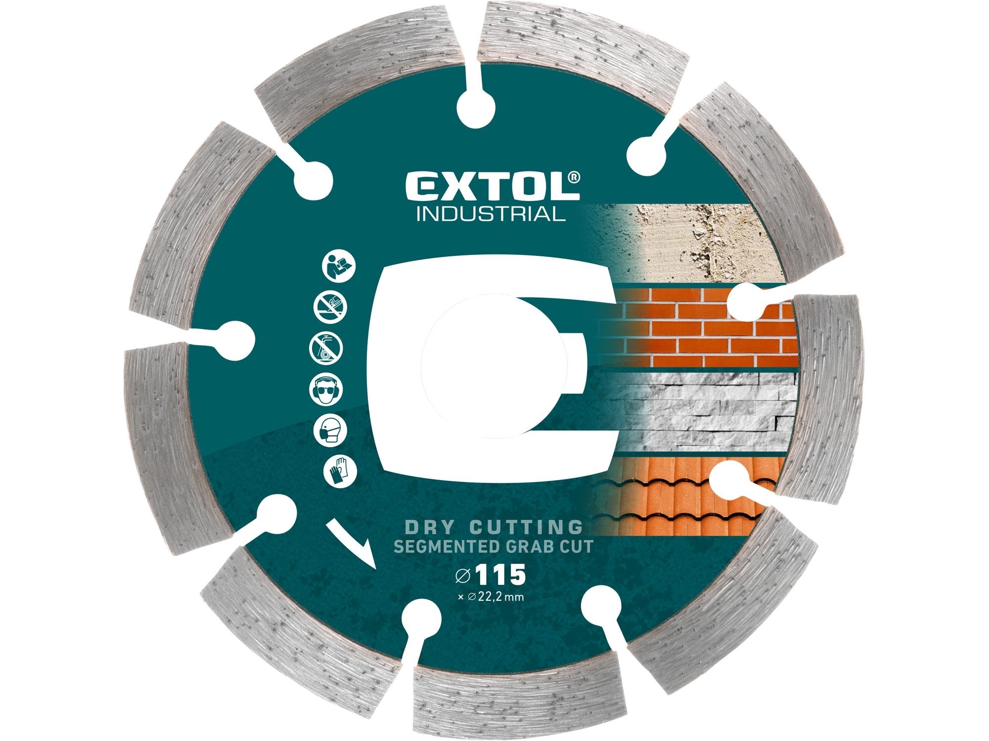kotouč diamantový řezný segmentový Grab Cut suché řezání, 115x22,2mm, EXTOL INDUSTRIAL 8703031