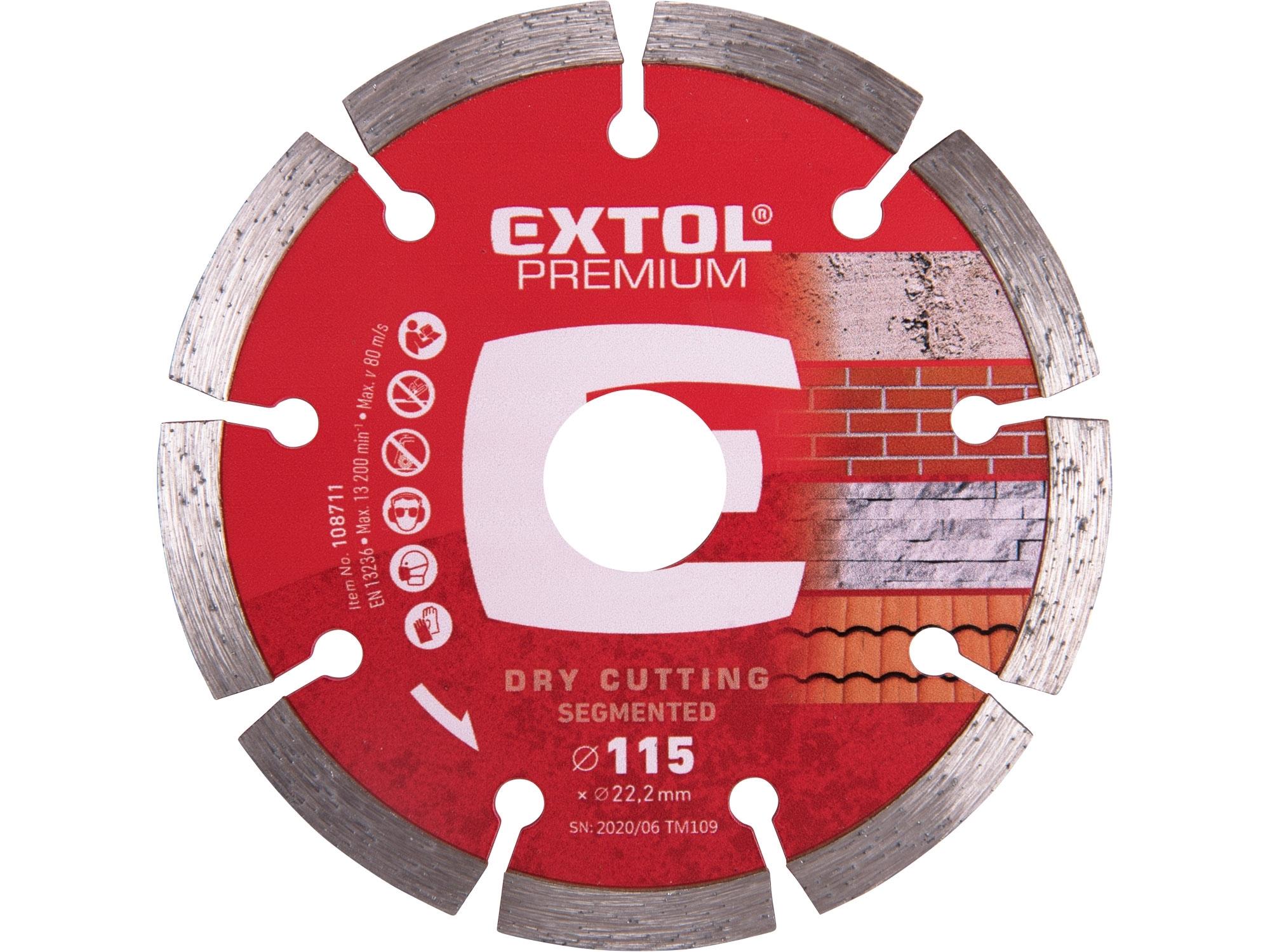 kotouč diamantový řezný segmentový - suché řezání, 115x22,2mm, EXTOL PREMIUM 108711