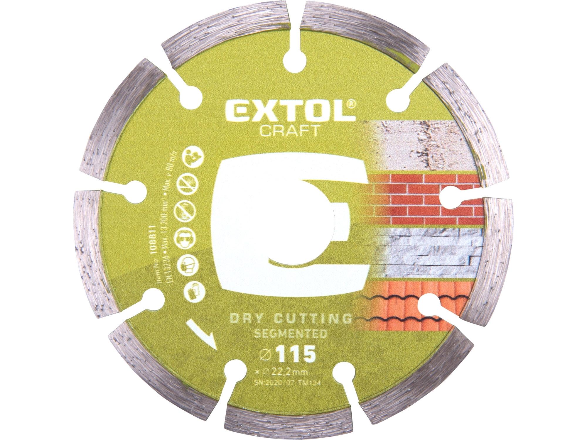 kotouč diamantový řezný segmentový - suché řezání, 115x22,2mm, EXTOL CRAFT 108811