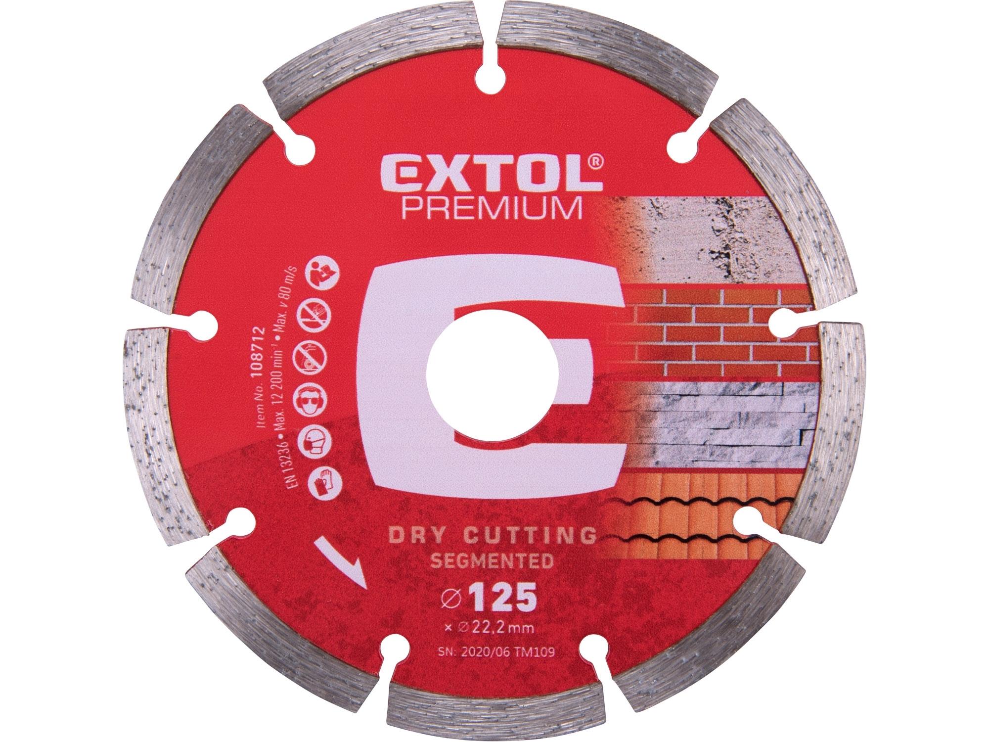 kotouč diamantový řezný segmentový - suché řezání, 125x22,2mm, EXTOL PREMIUM 108712