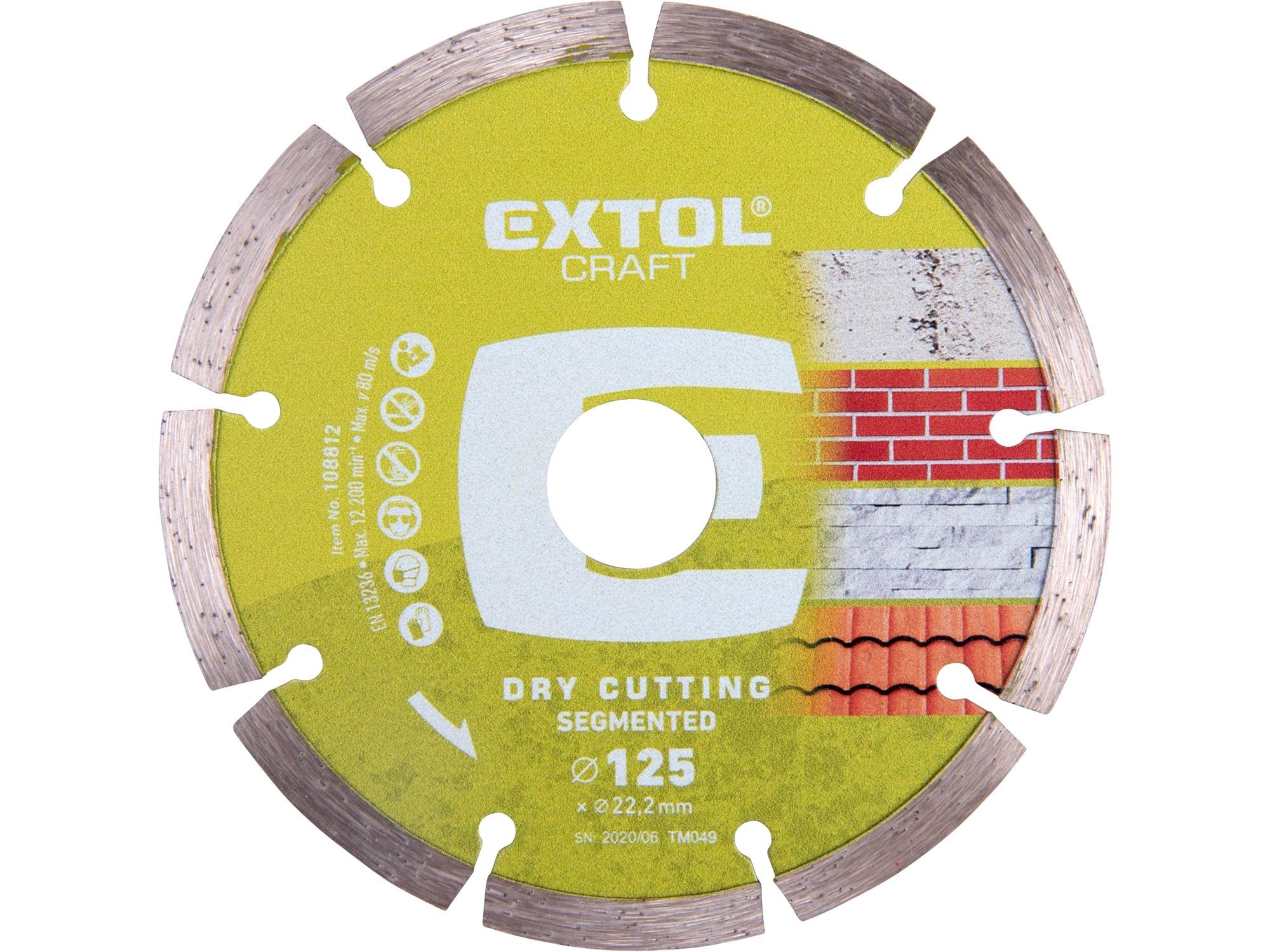 kotouč diamantový řezný segmentový - suché řezání, 125x22,2mm, EXTOL CRAFT 108812