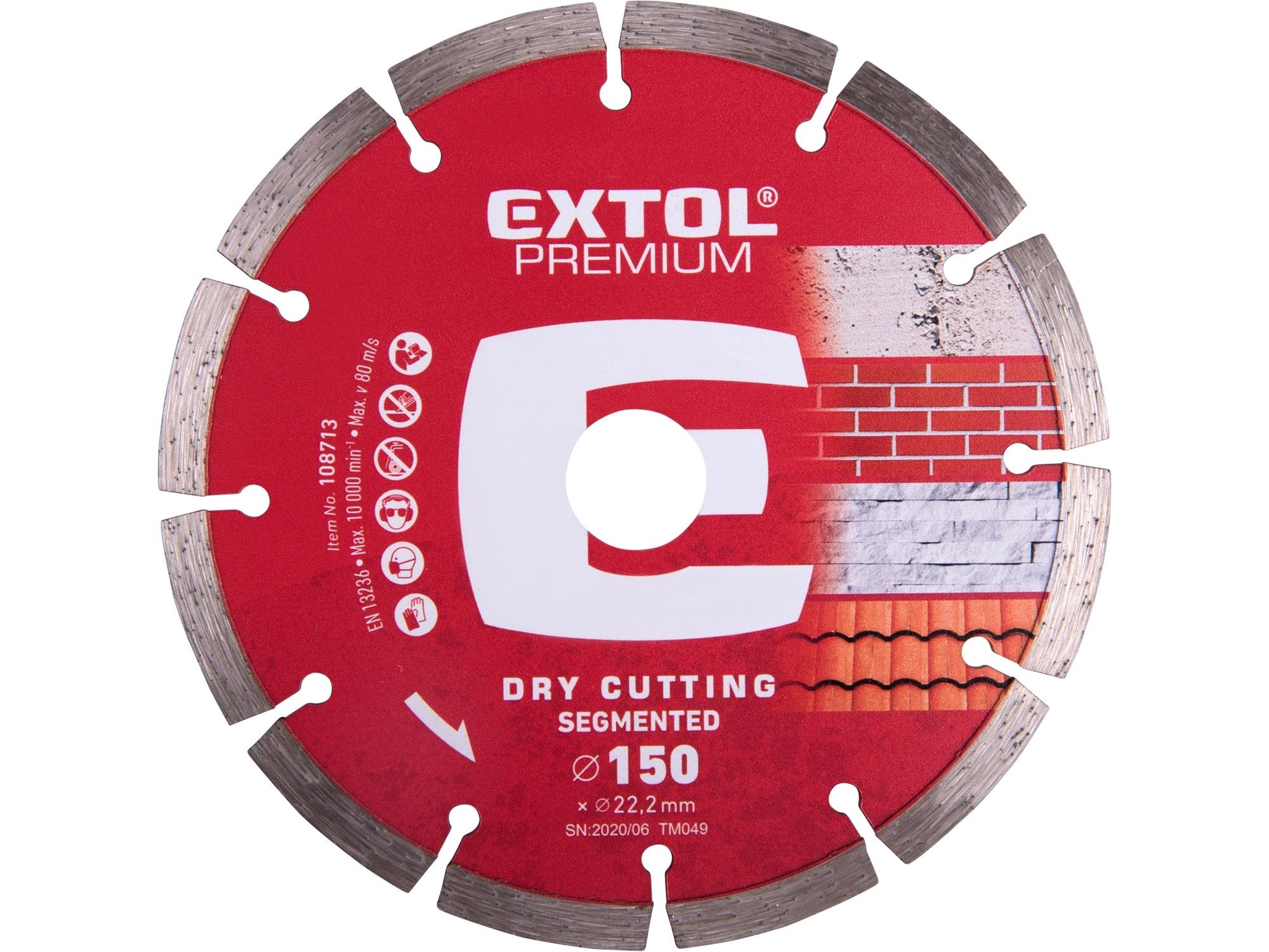 kotouč diamantový řezný segmentový - suché řezání, 150x22,2mm, EXTOL PREMIUM 108713