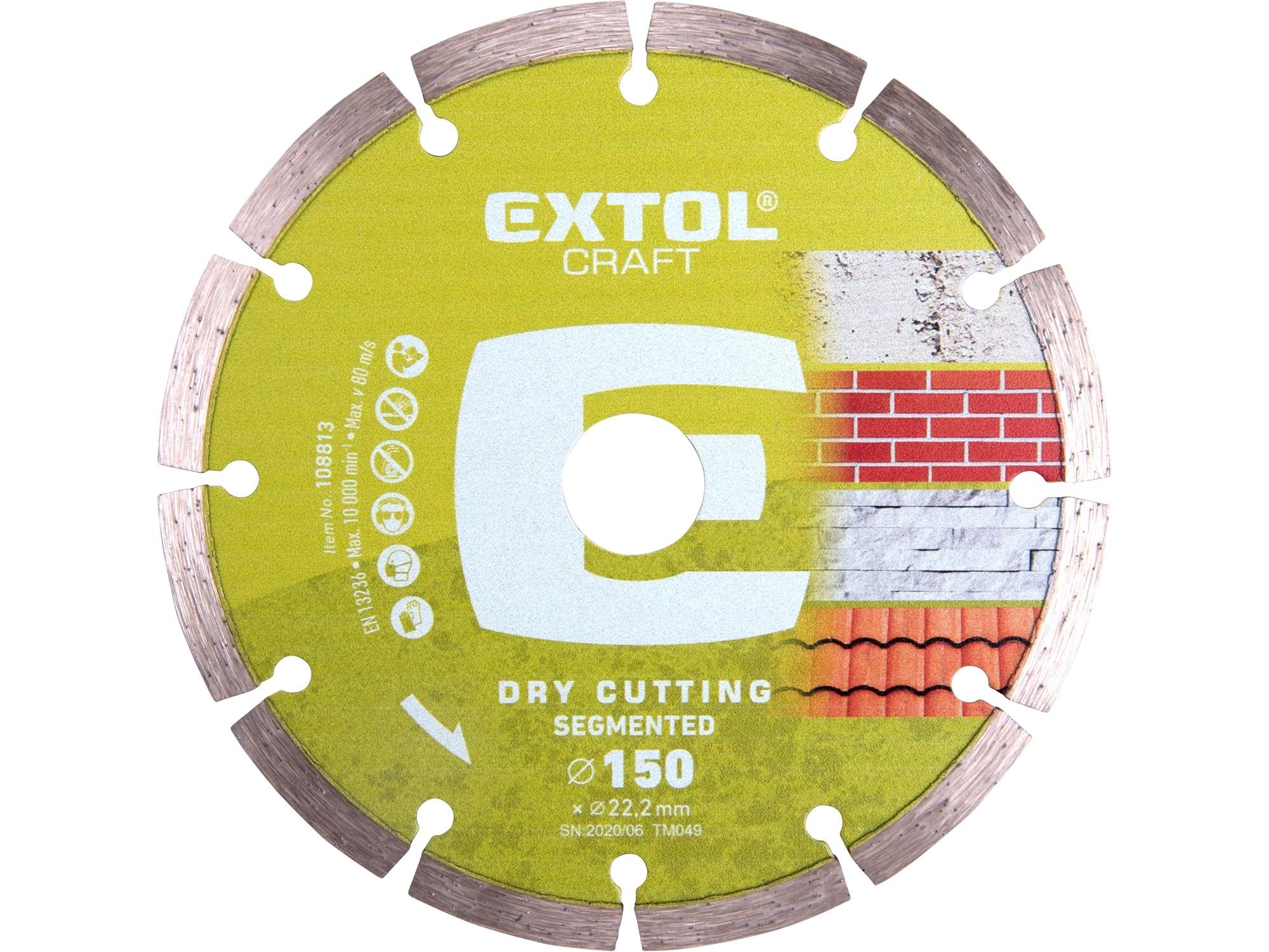 kotouč diamantový řezný segmentový - suché řezání, 150x22,2mm, EXTOL CRAFT 108813