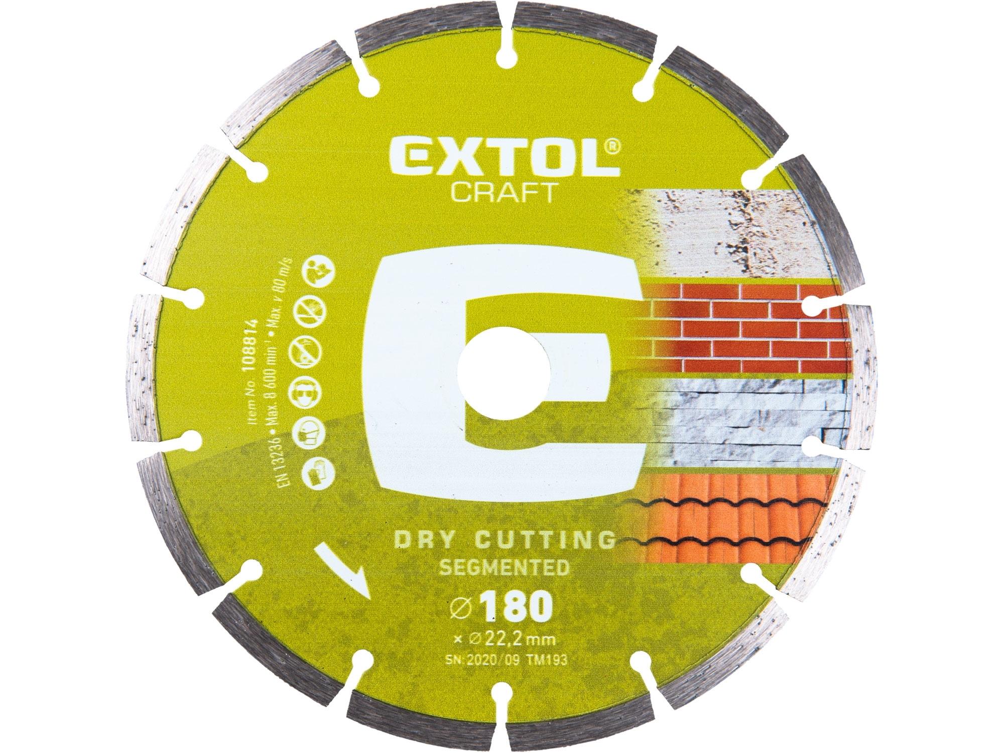 kotouč diamantový řezný segmentový - suché řezání, 180x22,2mm, EXTOL CRAFT 108814