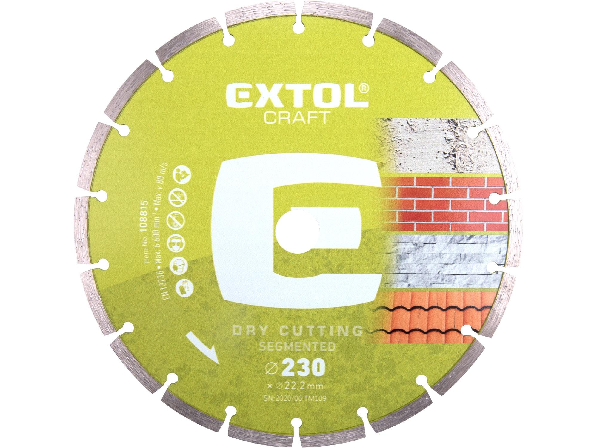 kotouč diamantový řezný segmentový - suché řezání, 230x22,2mm, EXTOL CRAFT 108815