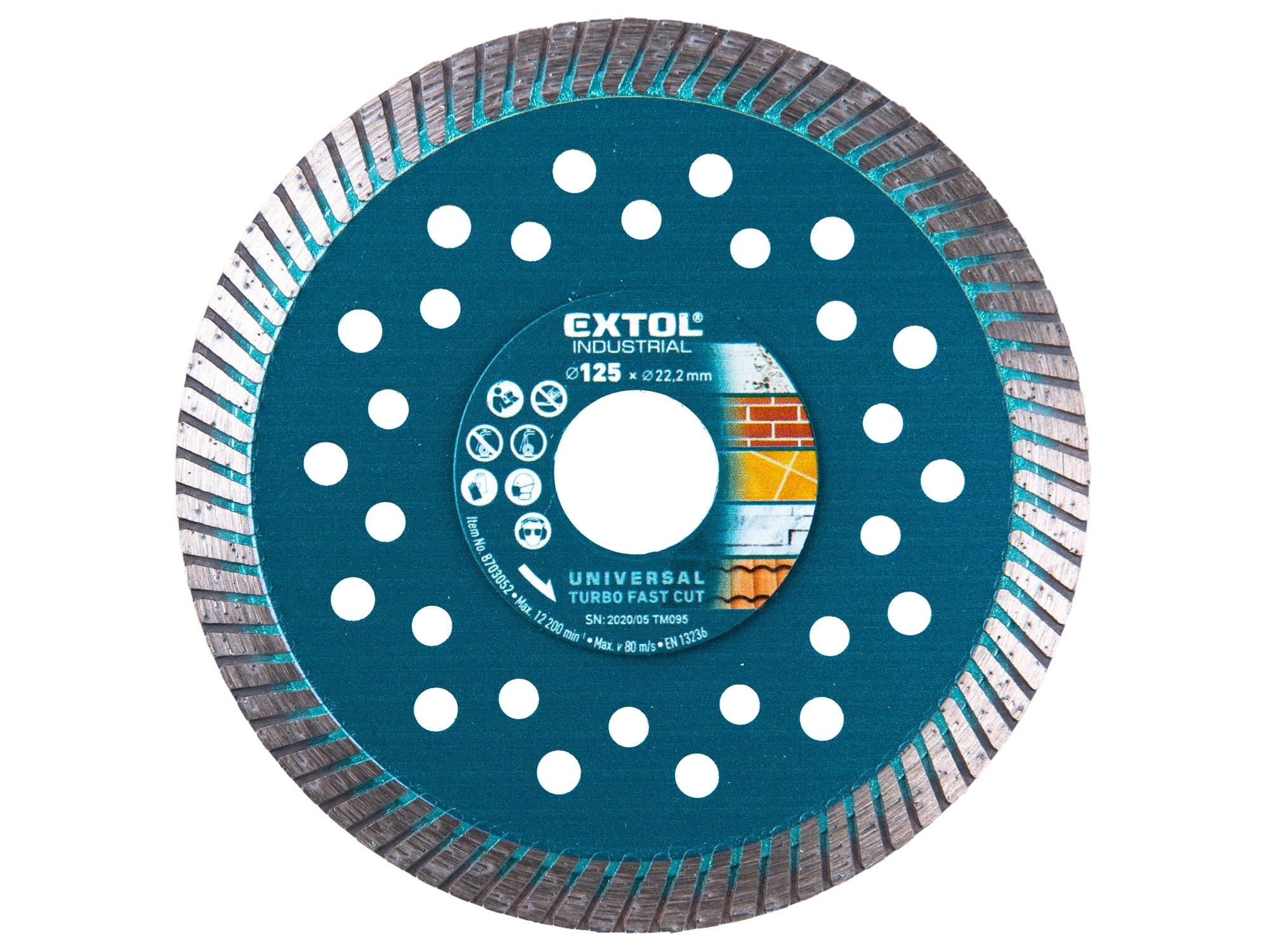 kotouč diamantový řezný turbo Fast Cut suché i mokré řezání, 125x22,2mm, EXTOL INDUSTRIAL 8703052