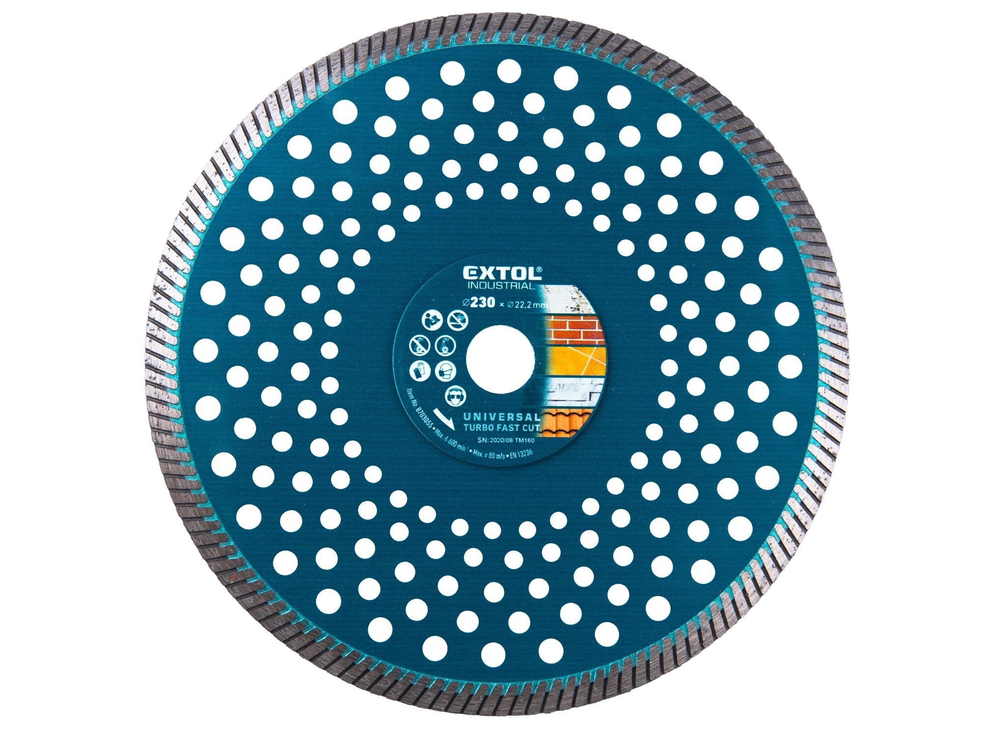 kotouč diamantový řezný turbo Fast Cut suché i mokré řezání, 230x22,2mm, EXTOL INDUSTRIAL 8703055