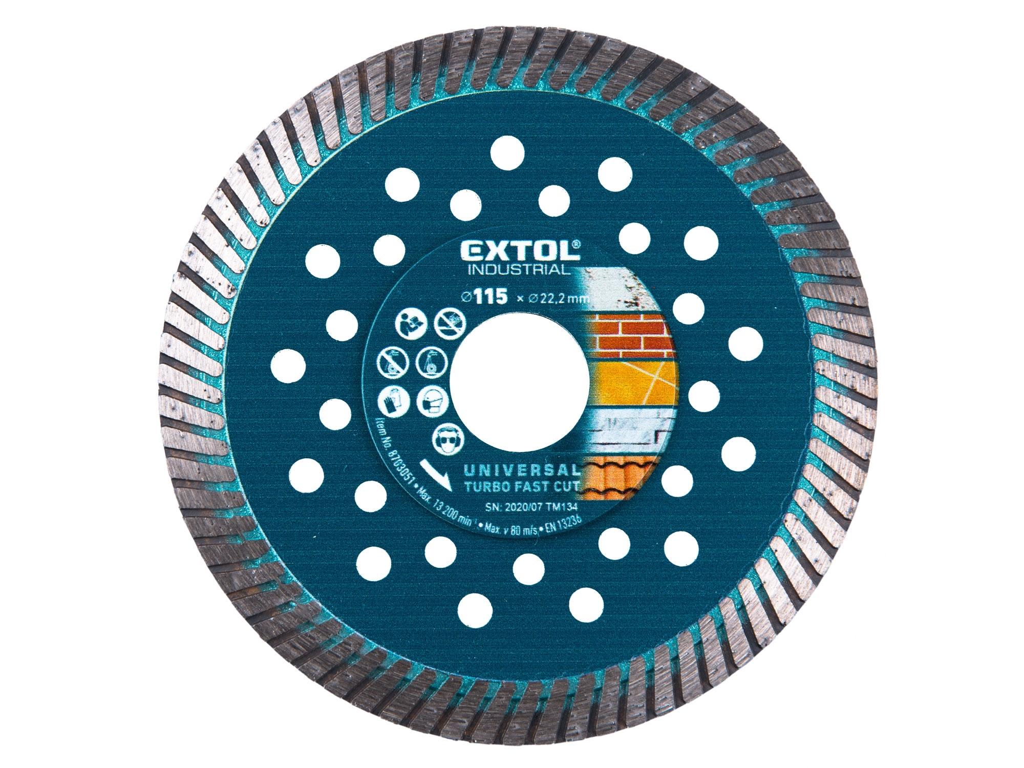 kotouč diamantový řezný, turbo Fast Cut, suché i mokré řezání, O 115x22,2x2mm