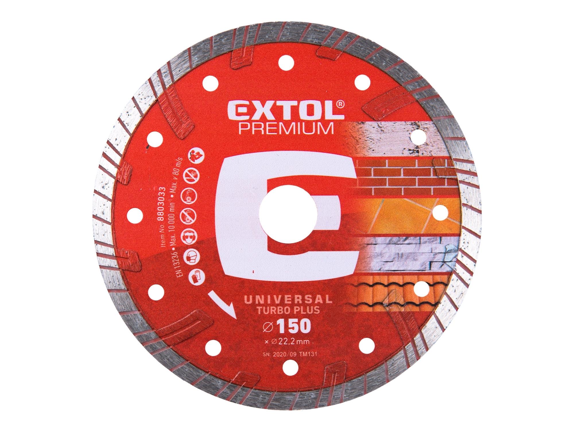 kotouč diamantový řezný turbo plus- suché i mokré řezání, 150x22,2mm, EXTOL PREMIUM 8803033