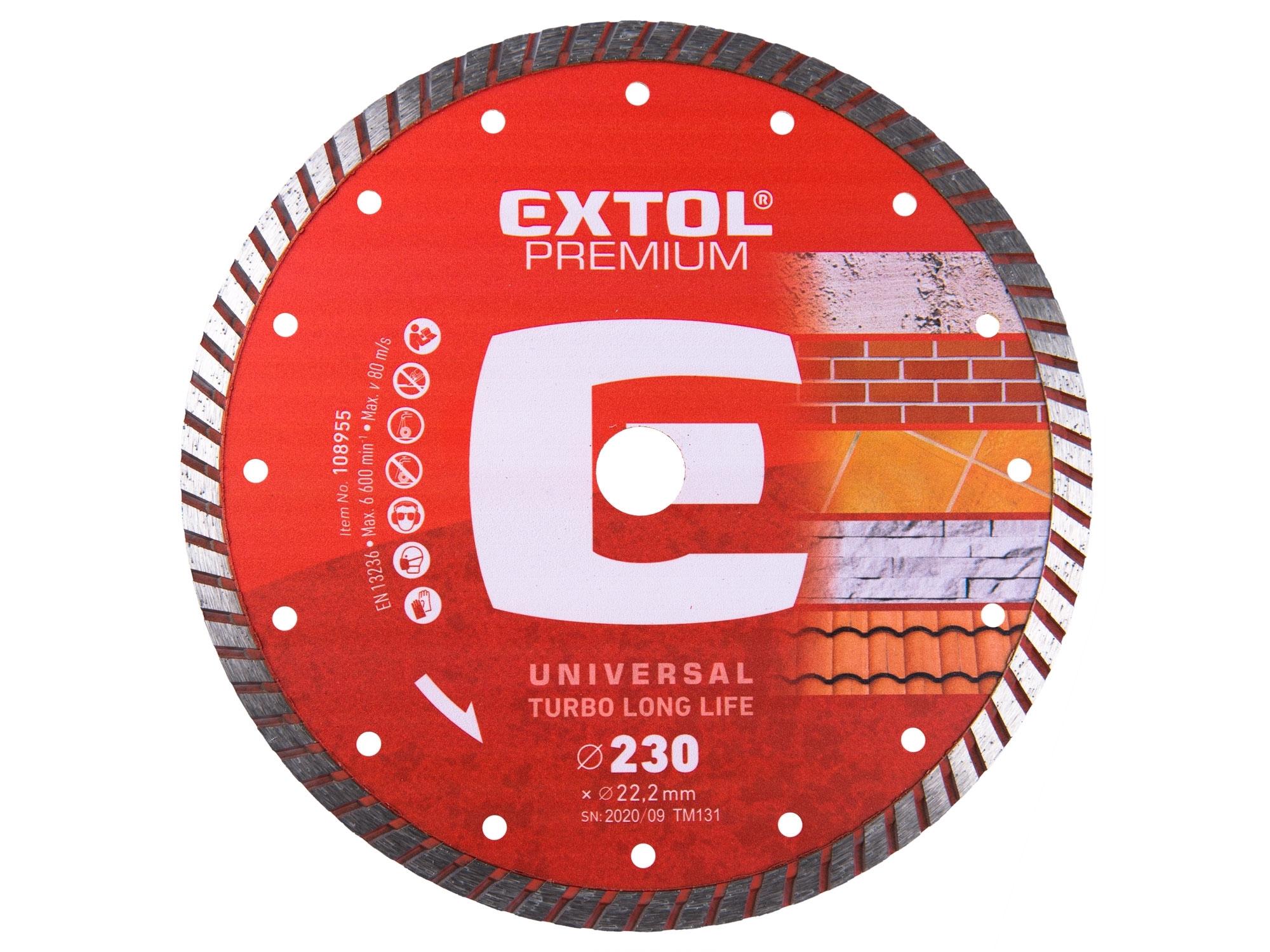 kotouč diamantový řezný turbo plus - suché i mokré řezání, 230x22,2mm, EXTOL PREMIUM 8803035