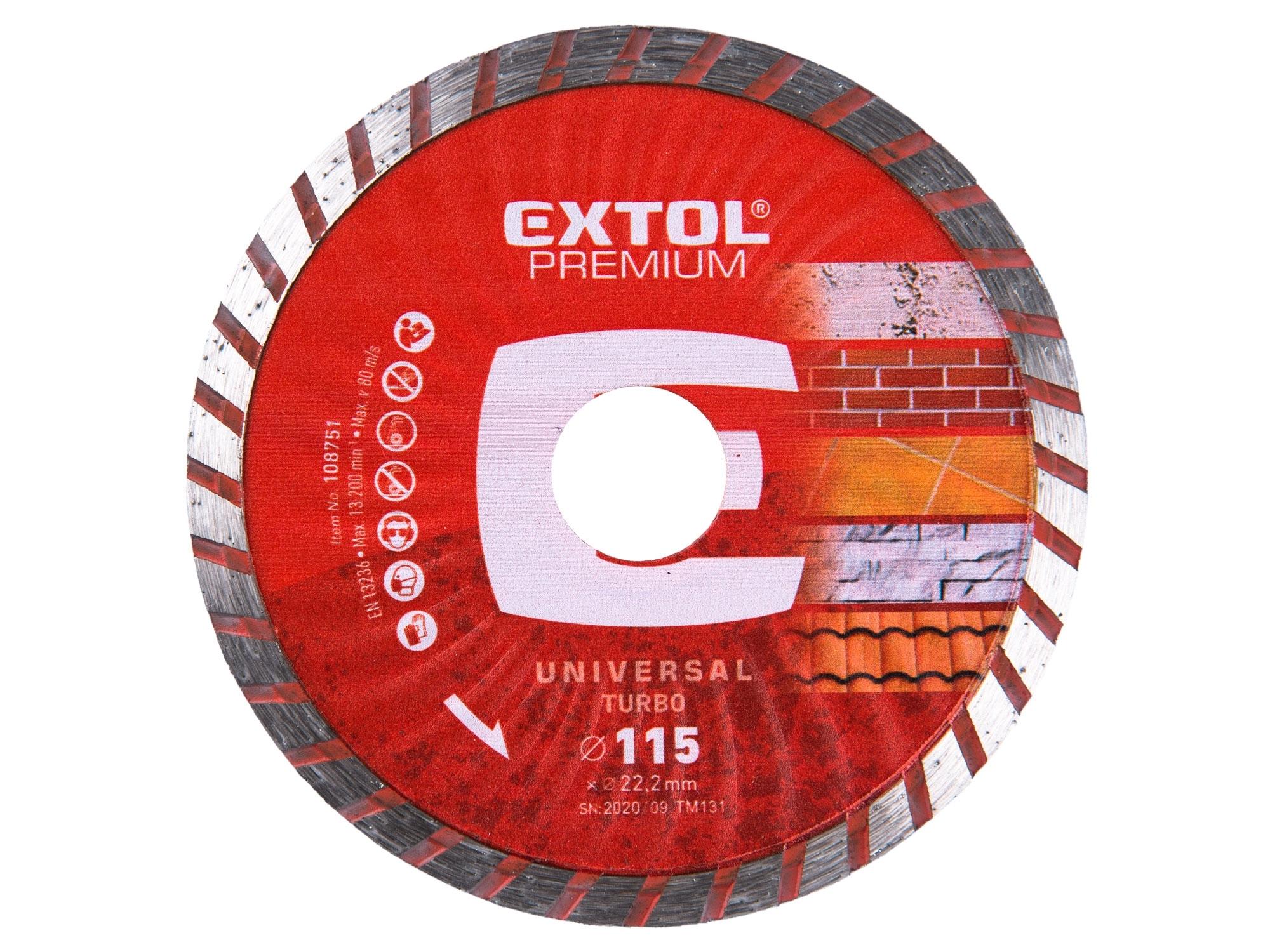 kotouč diamantový řezný turbo - suché i mokré řezání, 115x22,2mm, EXTOL PREMIUM 108751