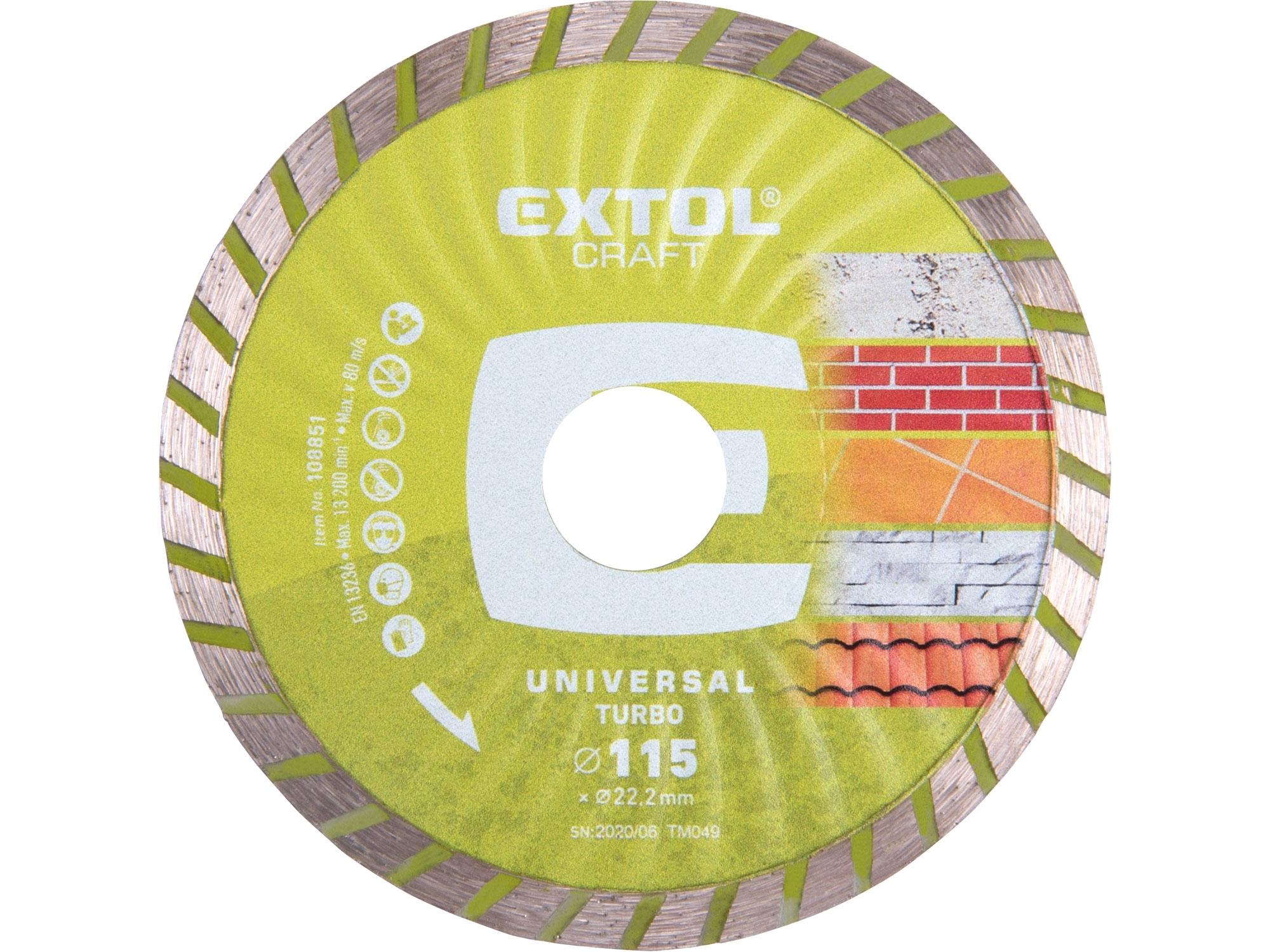kotouč diamantový řezný turbo - suché řezání, 115x22,2mm, EXTOL CRAFT 108851