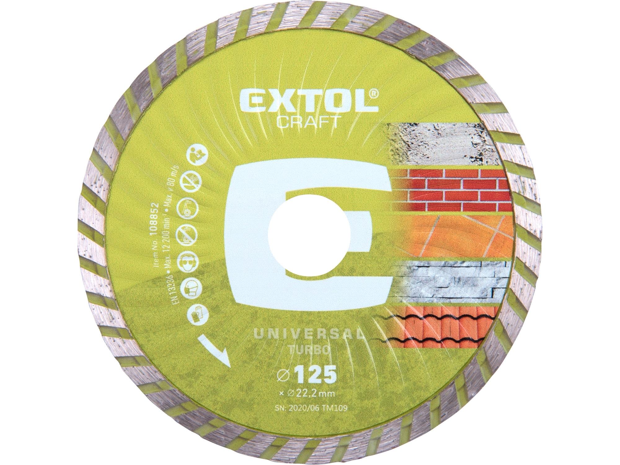 kotouč diamantový řezný turbo - suché řezání, 125x22,2mm, EXTOL CRAFT 108852