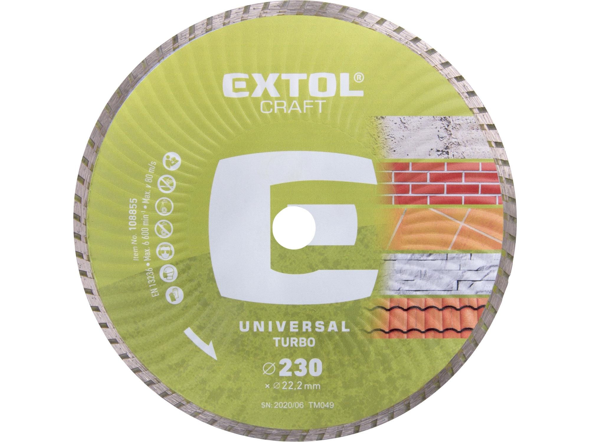 kotouč diamantový řezný turbo - suché řezání, 230x22,2mm, EXTOL CRAFT 108855