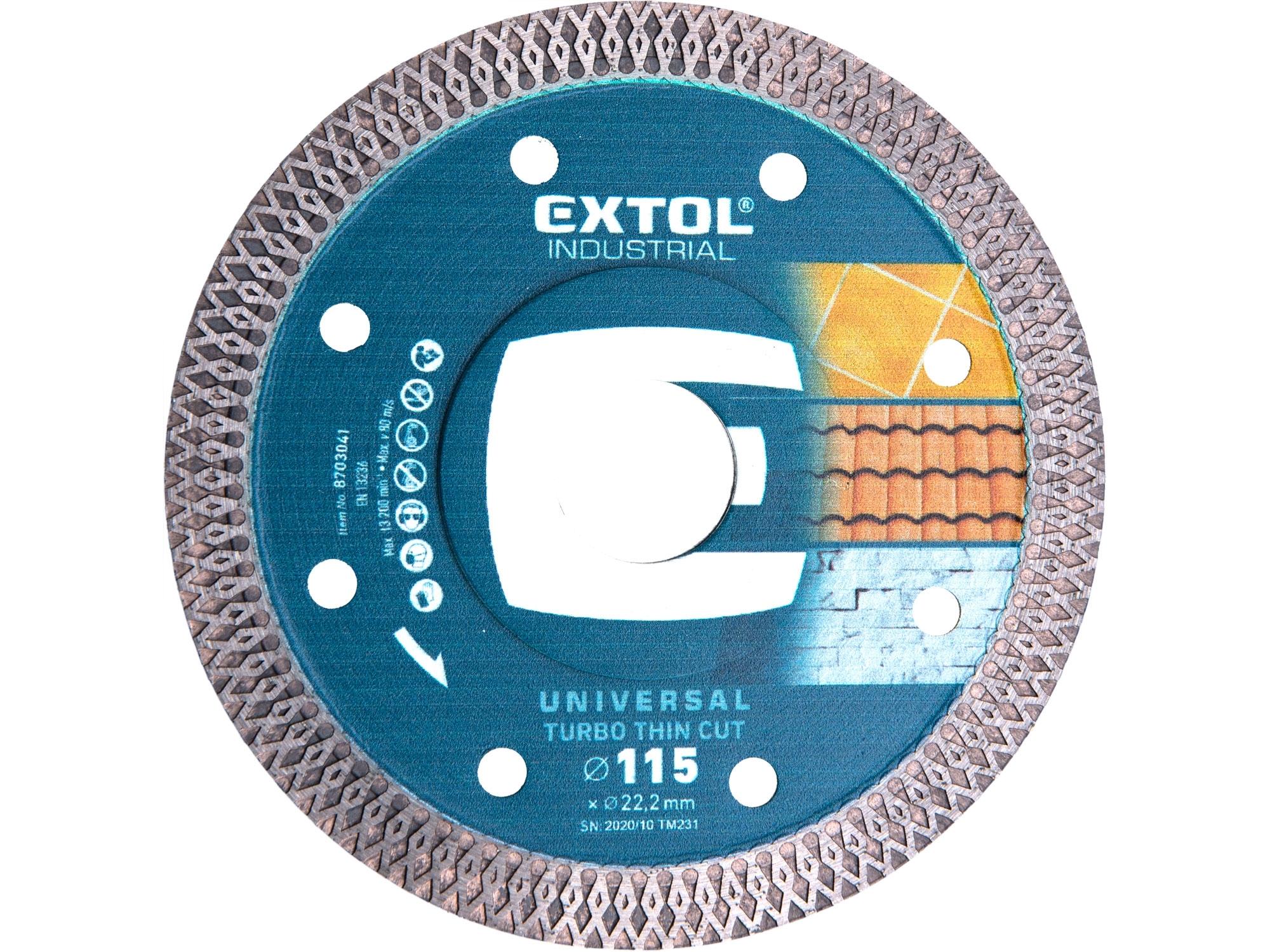 kotouč diamantový řezný turbo Thin Cut suché i mokré řezání, 115x22,2mm, EXTOL INDUSTRIAL 8703041