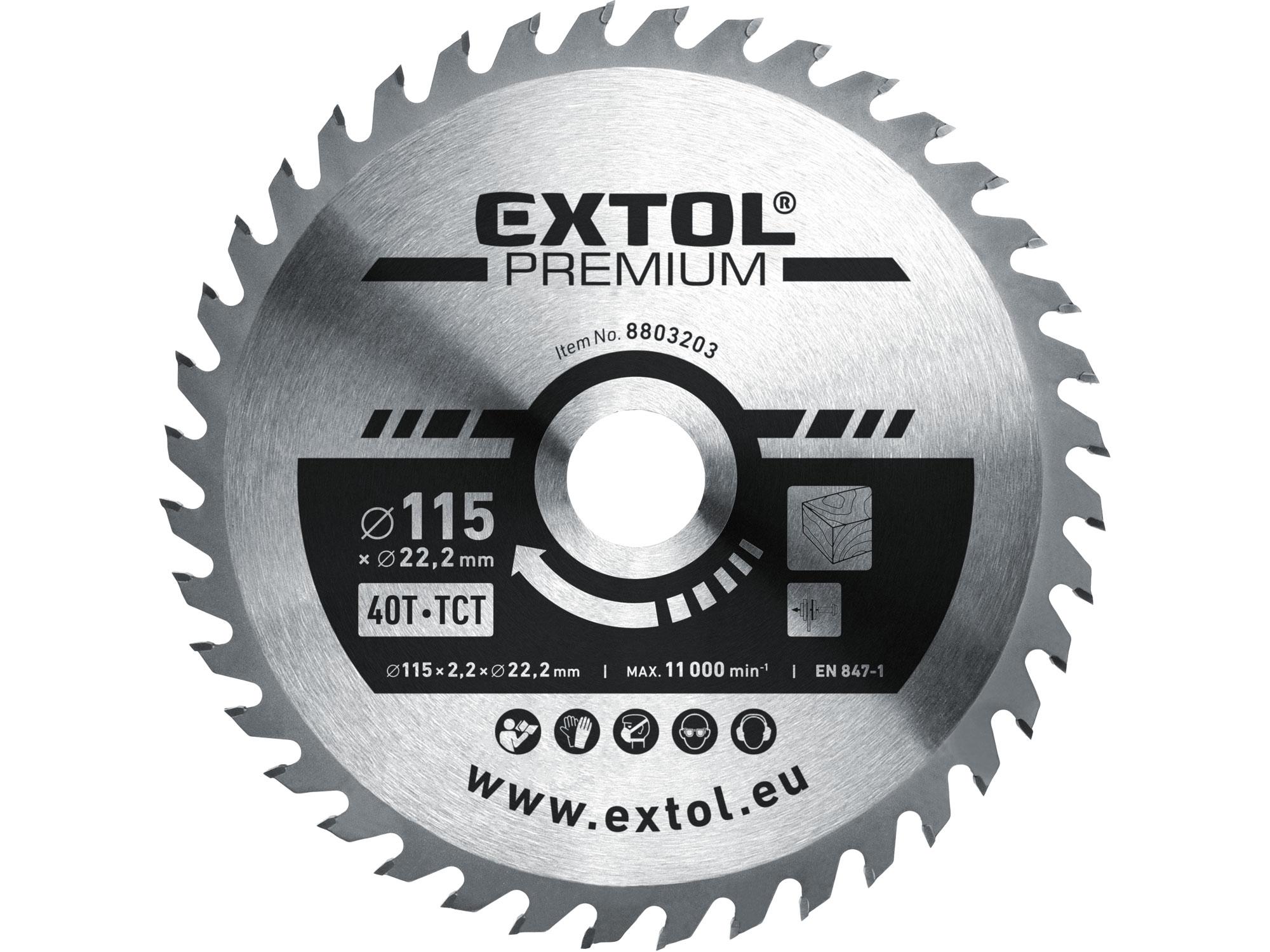kotouč pilový s SK plátky, 115x1,3x22,2mm, EXTOL PREMIUM 8803203