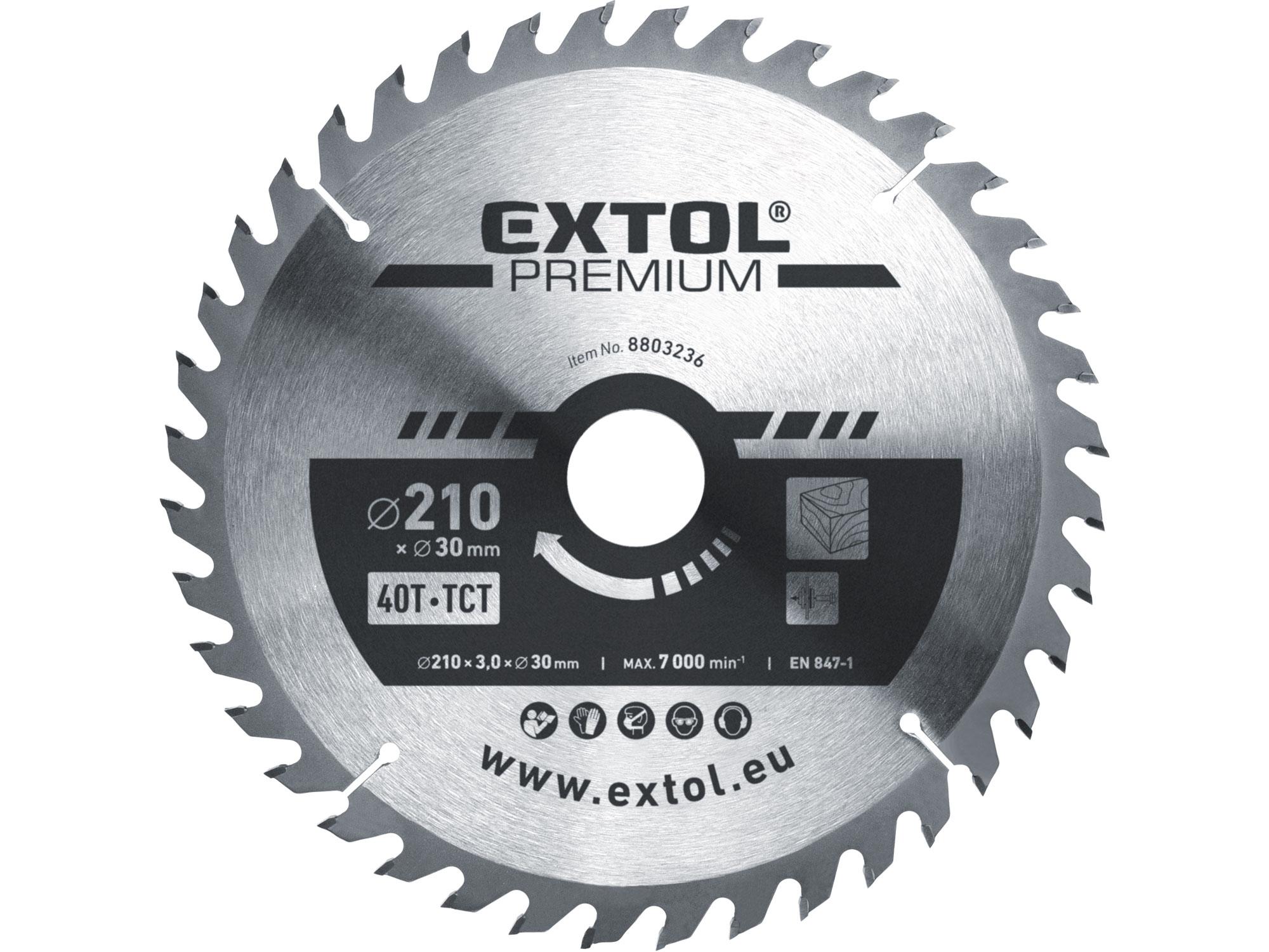 kotouč pilový s SK plátky, 210x2,2x30mm, EXTOL PREMIUM 8803236