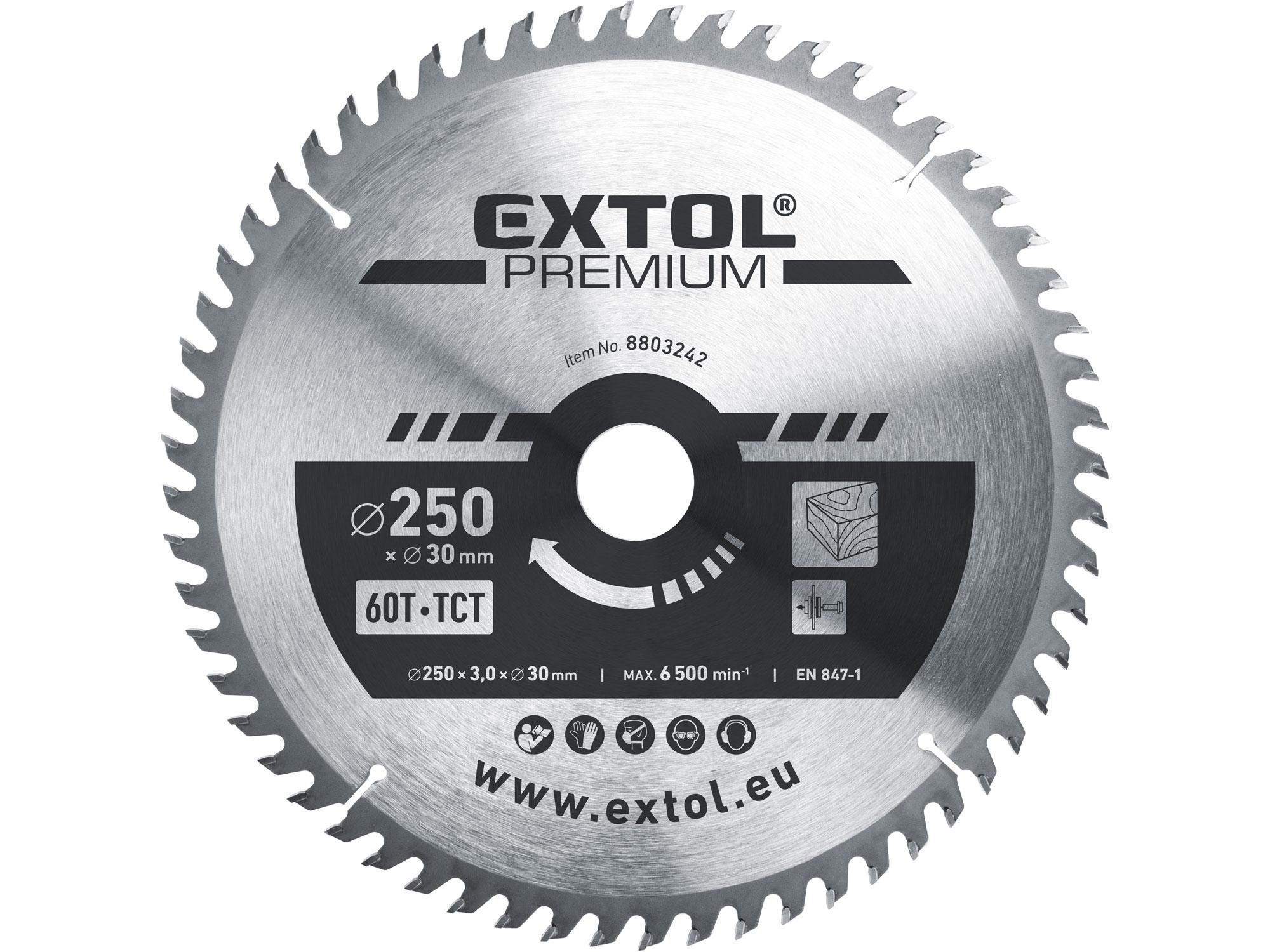 kotouč pilový s SK plátky, 250x2,2x30mm, EXTOL PREMIUM 8803242