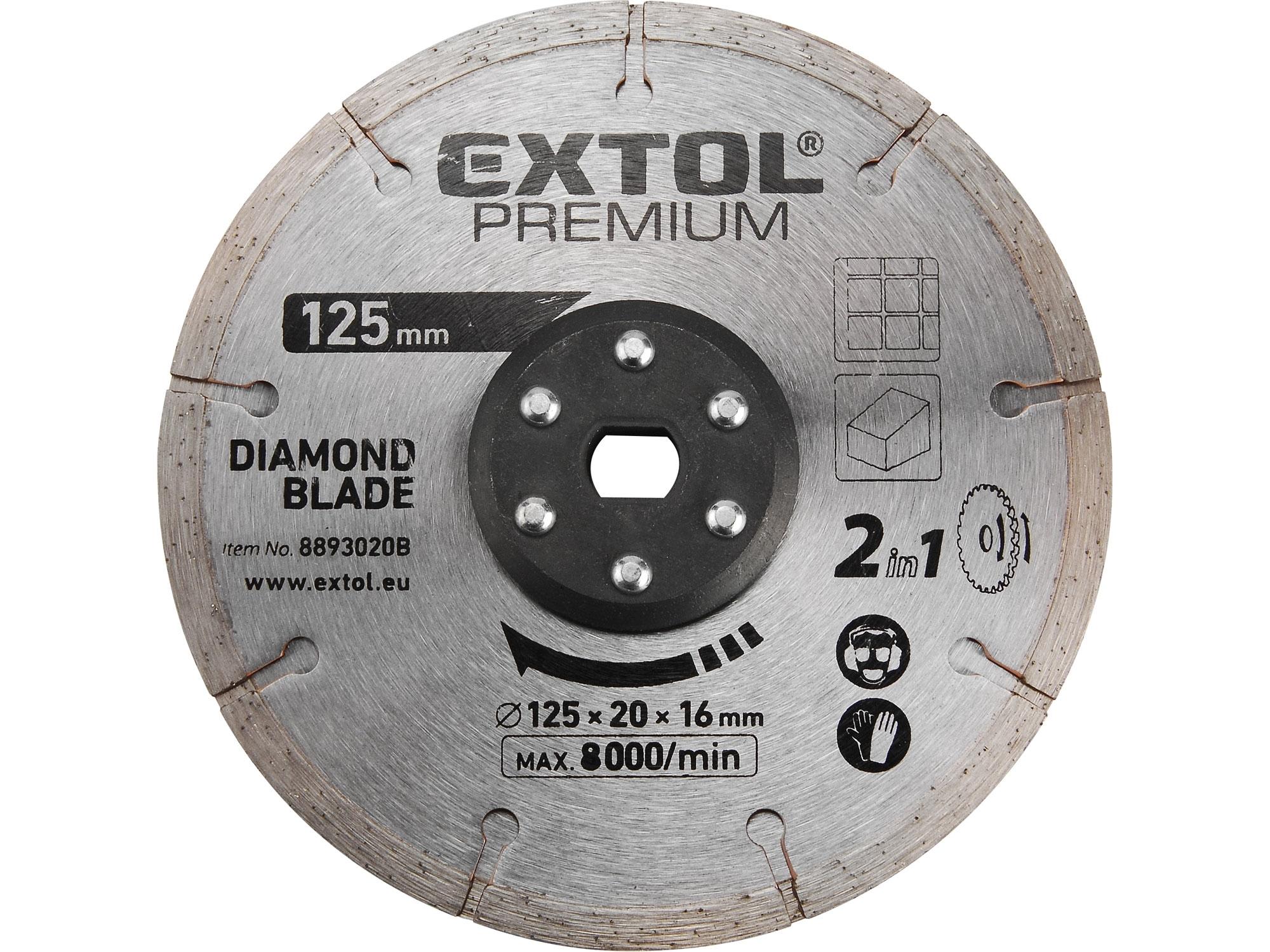 kotouc řezný, diamantový, 125x20mm, EXTOL PREMIUM 8893020B