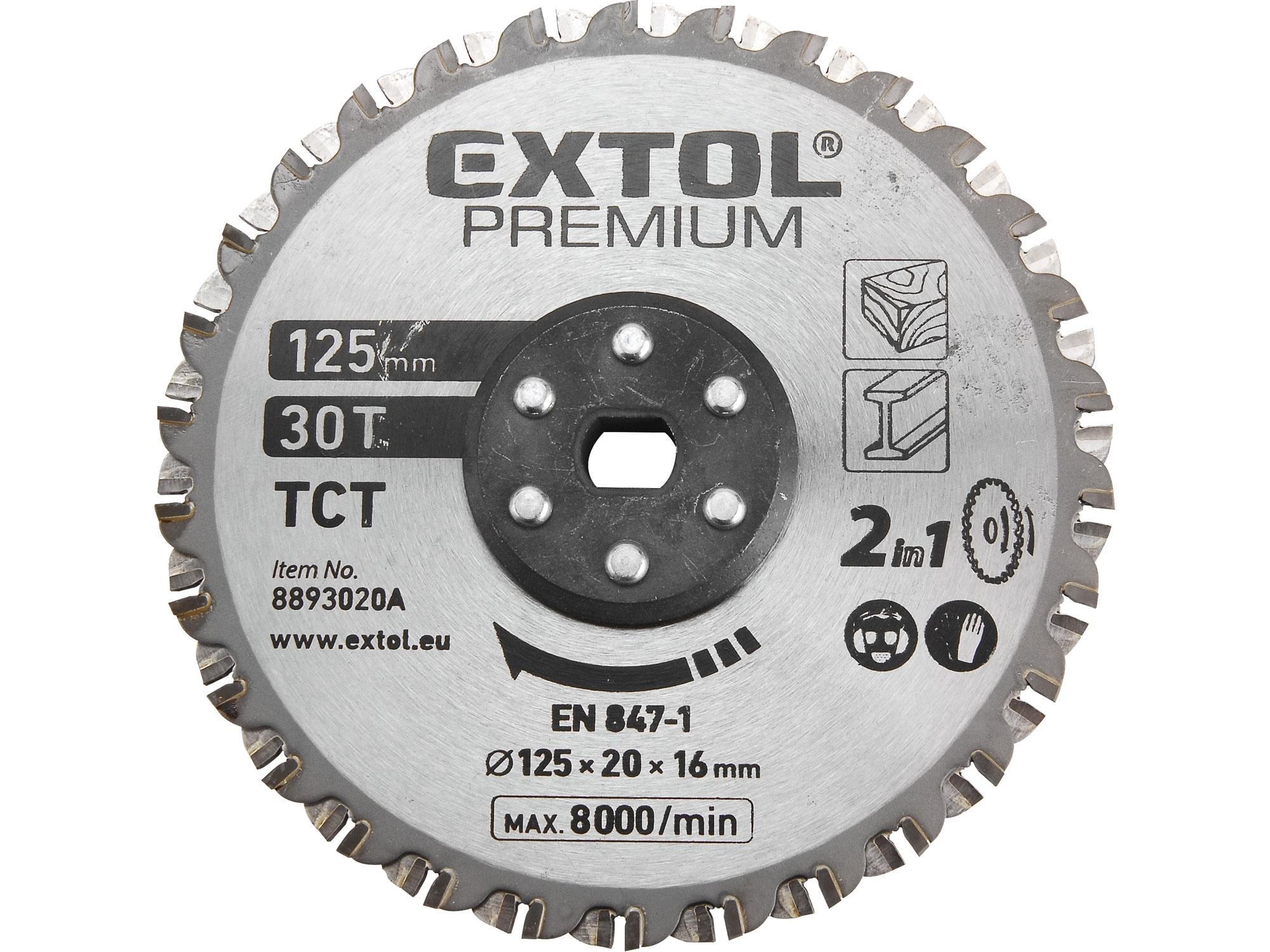 kotouč řezný, na kov a dřevo, 125x20x16mm, 38T, EXTOL PREMIUM 8893020A