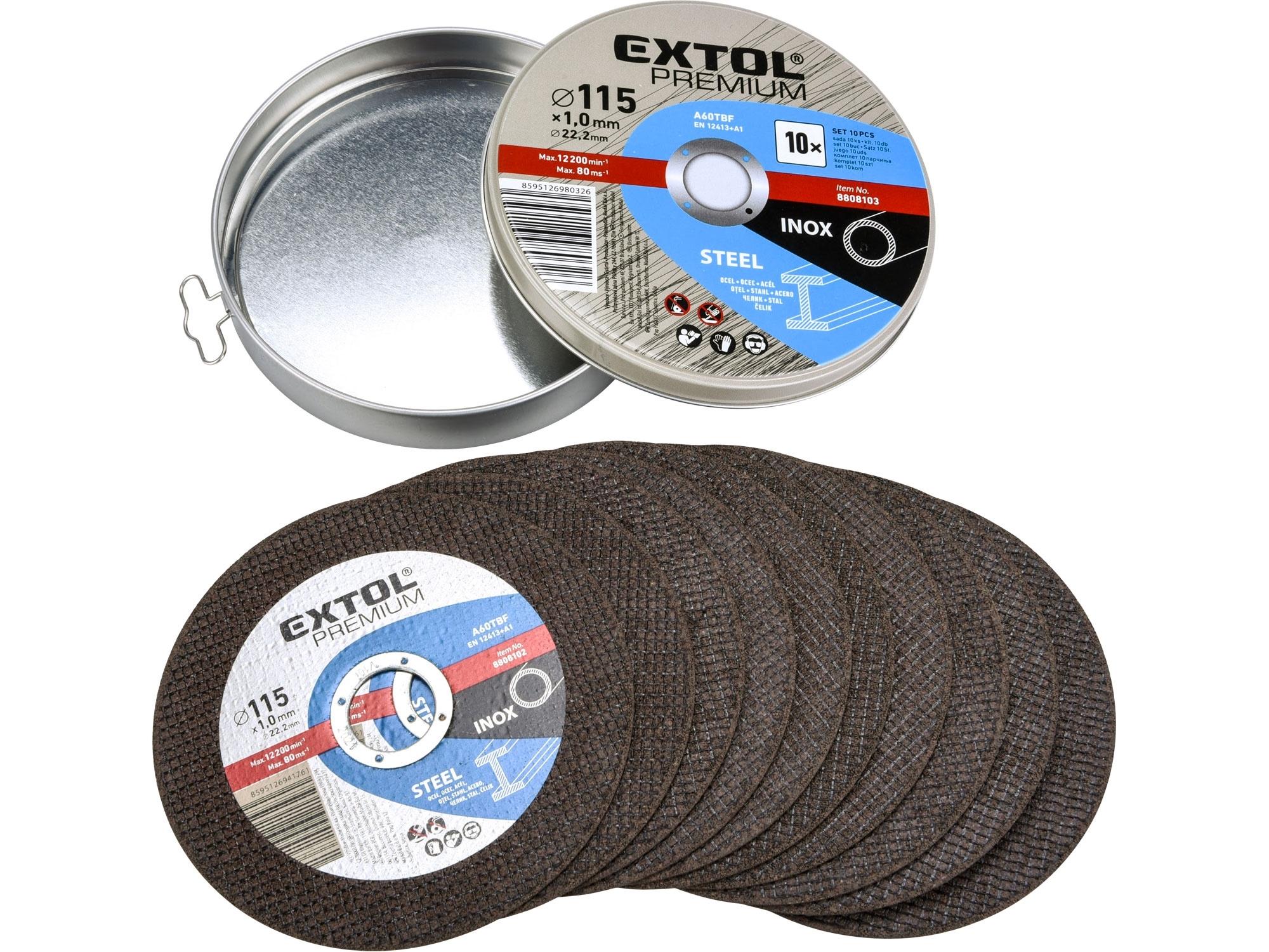 Kotouč řezný na ocel/nerez, 10ks, 115x1,0x22,2mm EXTOL Premium 8808101