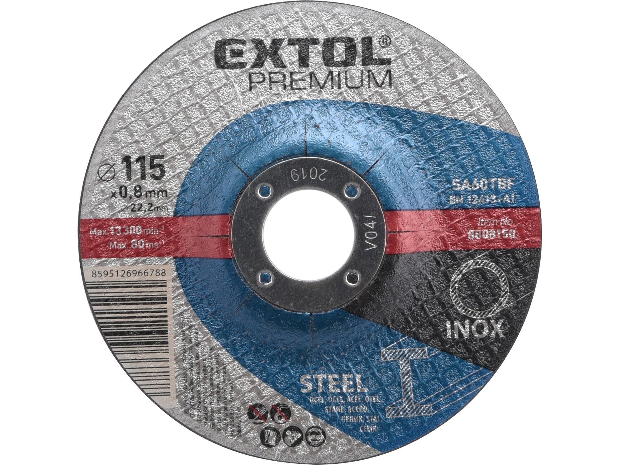 kotouč řezný na ocel/nerez ultratenký, 115x0,8x22,2mm, EXTOL PREMIUM 8808150