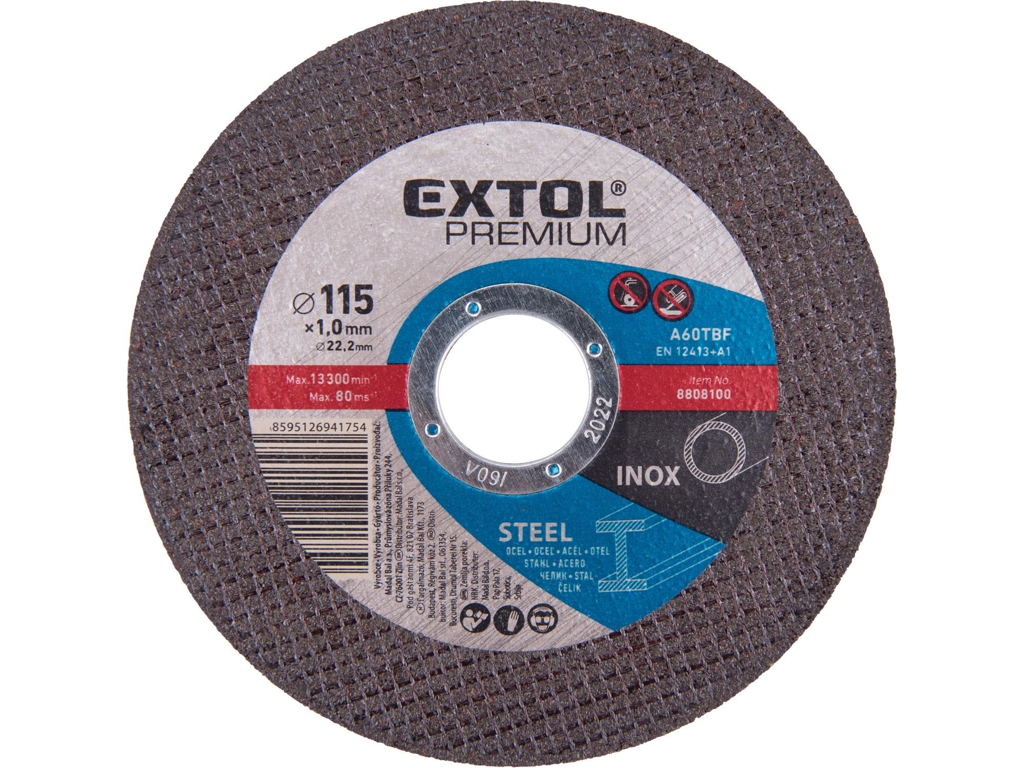 kotouč řezný na ocel/nerez, 115x1,0x22,2mm, EXTOL PREMIUM 8808100