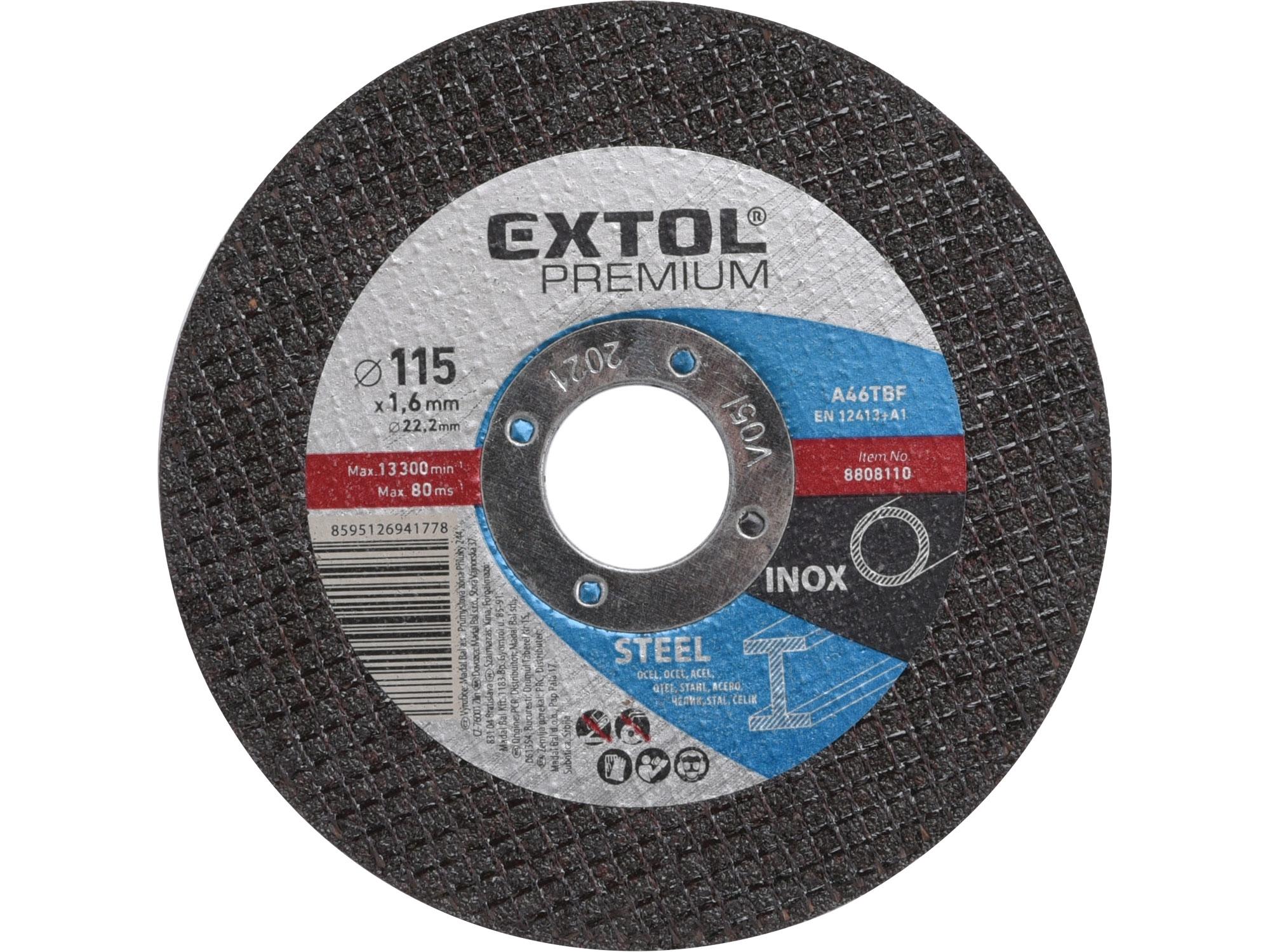 kotouč řezný na ocel/nerez, 115x1,6x22,2mm, EXTOL PREMIUM 8808110