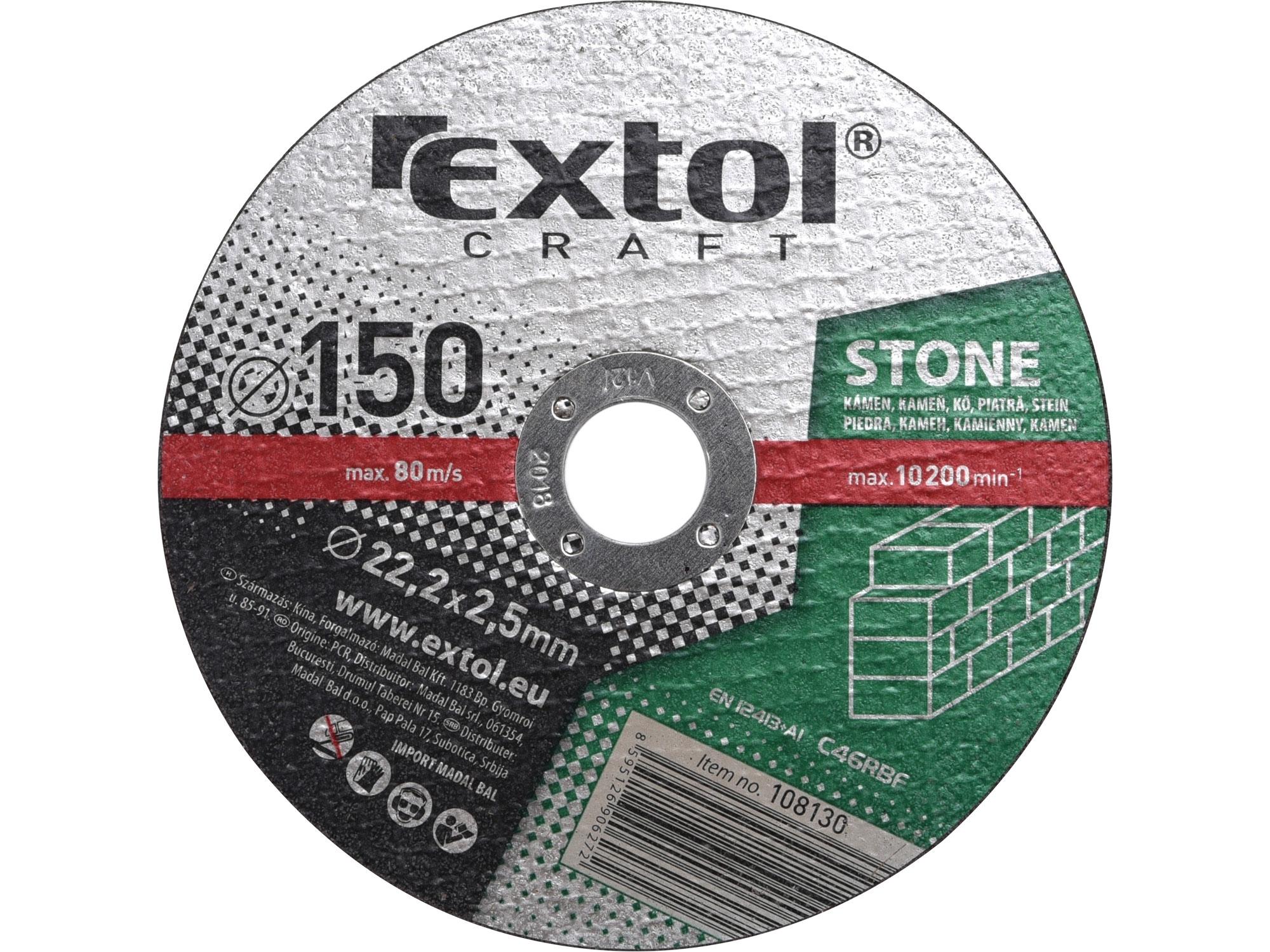 kotouče řezné na kámen, 5ks, 150x2,5x22,2mm, EXTOL CRAFT 108130