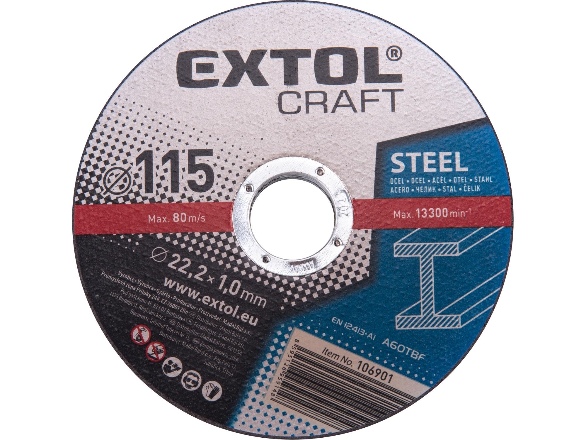 kotouče řezné na kov, 5ks, 115x1,0x22,2mm, EXTOL CRAFT 106901