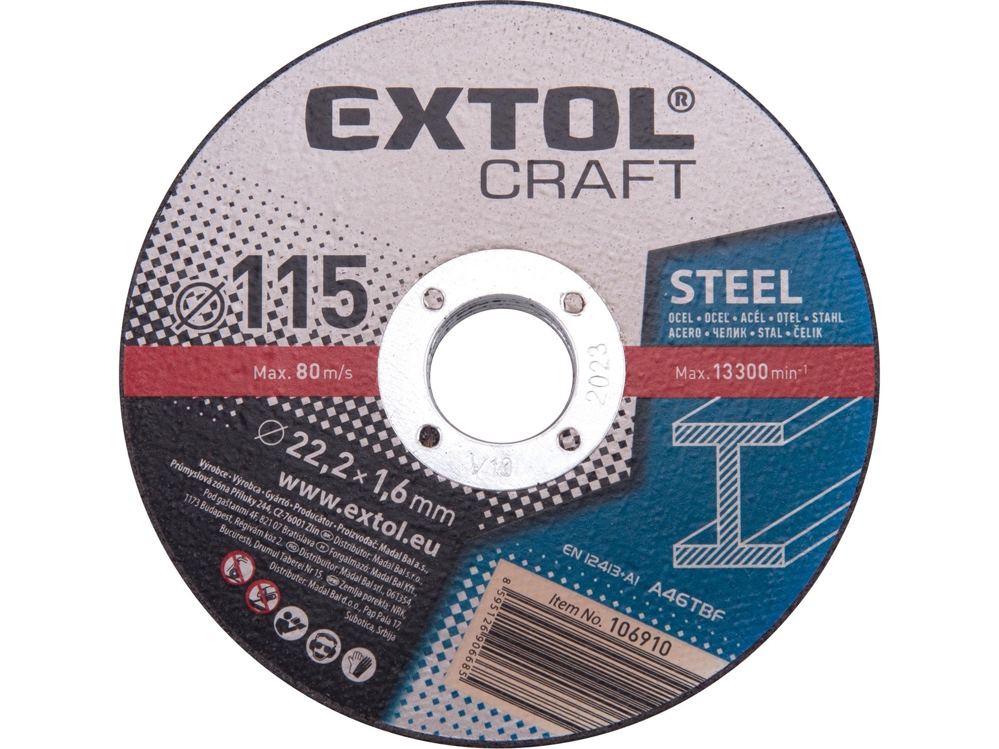 kotouče řezné na kov, 5ks, 115x1,6x22,2mm, EXTOL CRAFT 106910