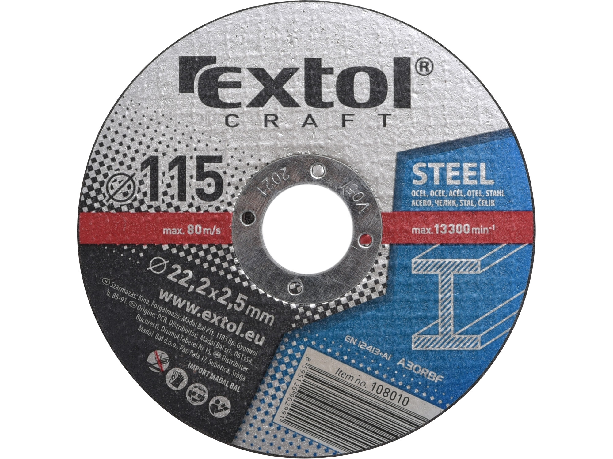 kotouče řezné na kov, 5ks, 115x2,5x22,2mm, EXTOL CRAFT 108010