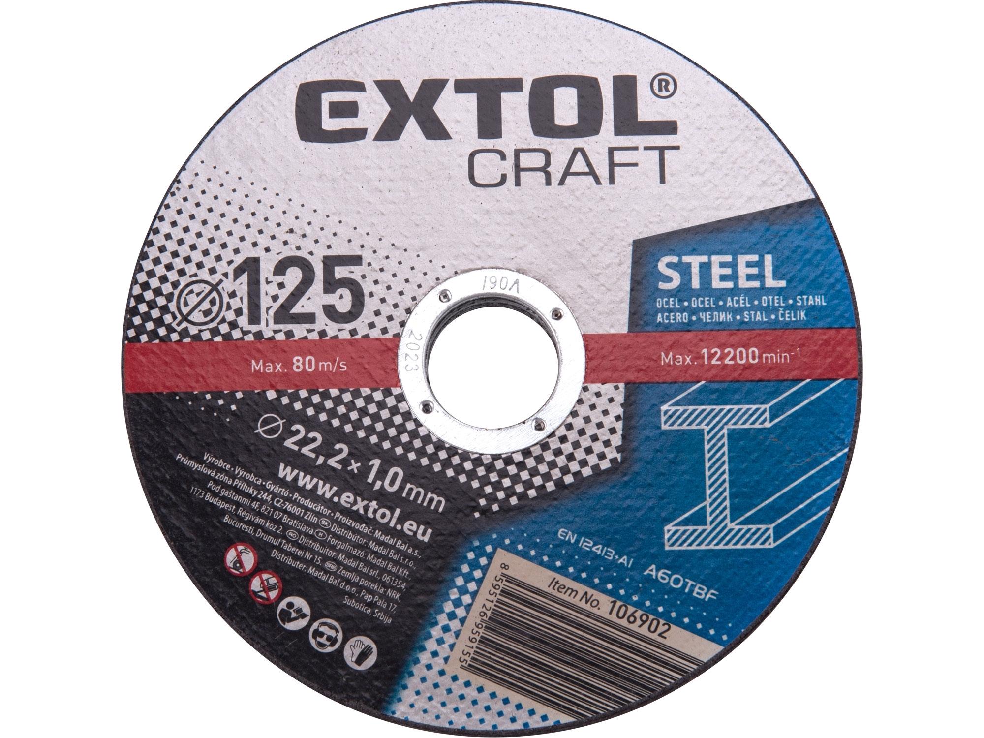 kotouče řezné na kov, 5ks, 125x1,0x22,2mm, EXTOL CRAFT 106902