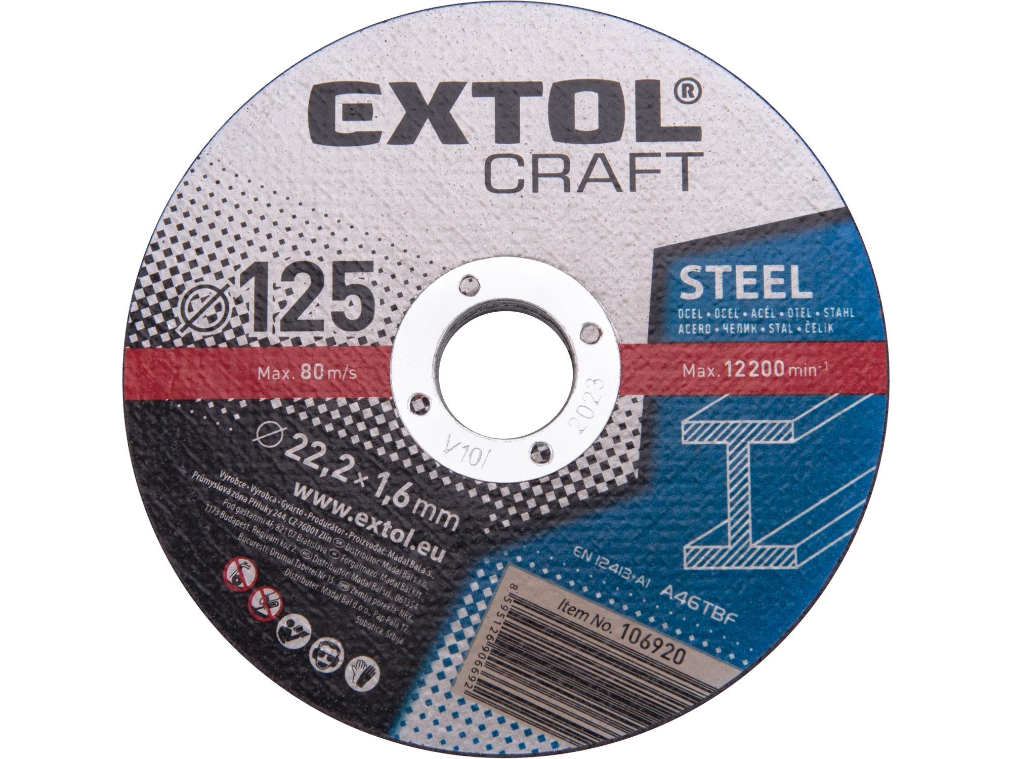 kotouče řezné na kov, 5ks, 125x1,6x22,2mm, EXTOL CRAFT 106920