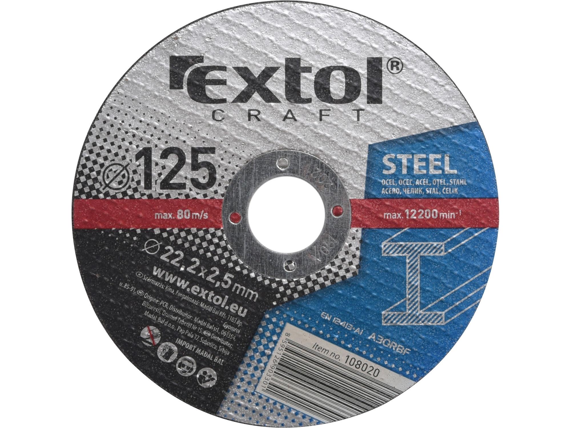 kotouče řezné na kov, 5ks, 125x2,5x22,2mm, EXTOL CRAFT 108020