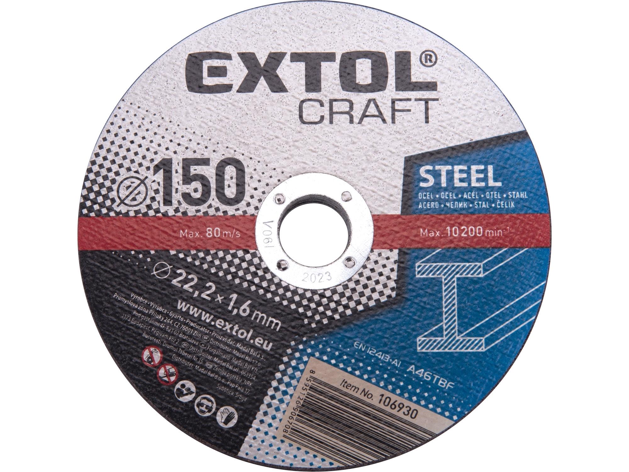 kotouče řezné na kov, 5ks, 150x1,6x22,2mm, EXTOL CRAFT 106930