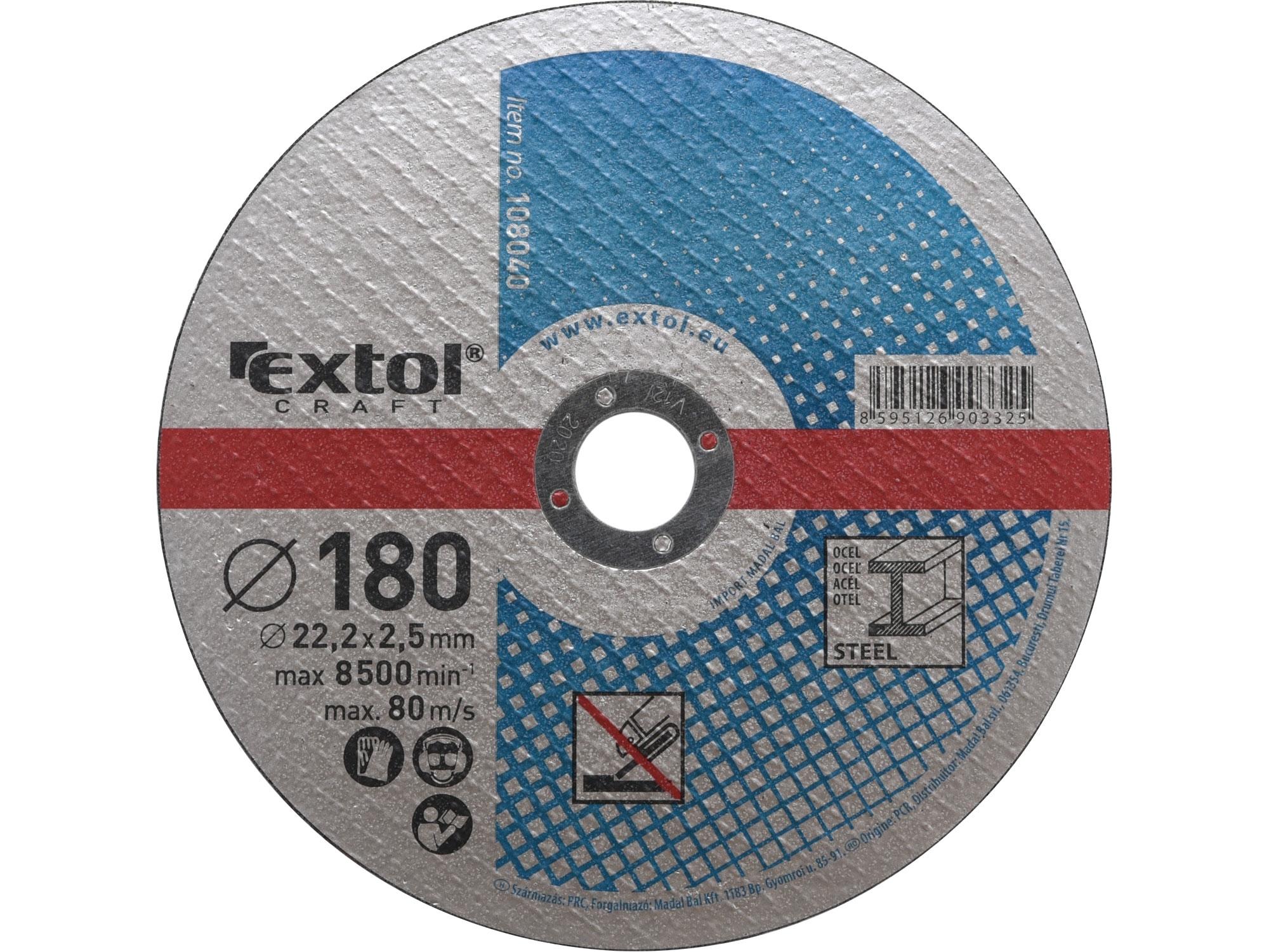 kotouče řezné na kov, 5ks, 180x2,5x22,2mm, EXTOL CRAFT 108040