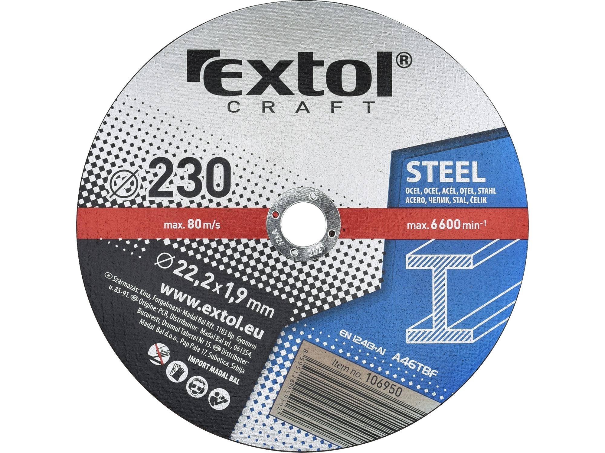 kotouče řezné na kov, 5ks, 230x1,9x22,2mm, EXTOL CRAFT 106950
