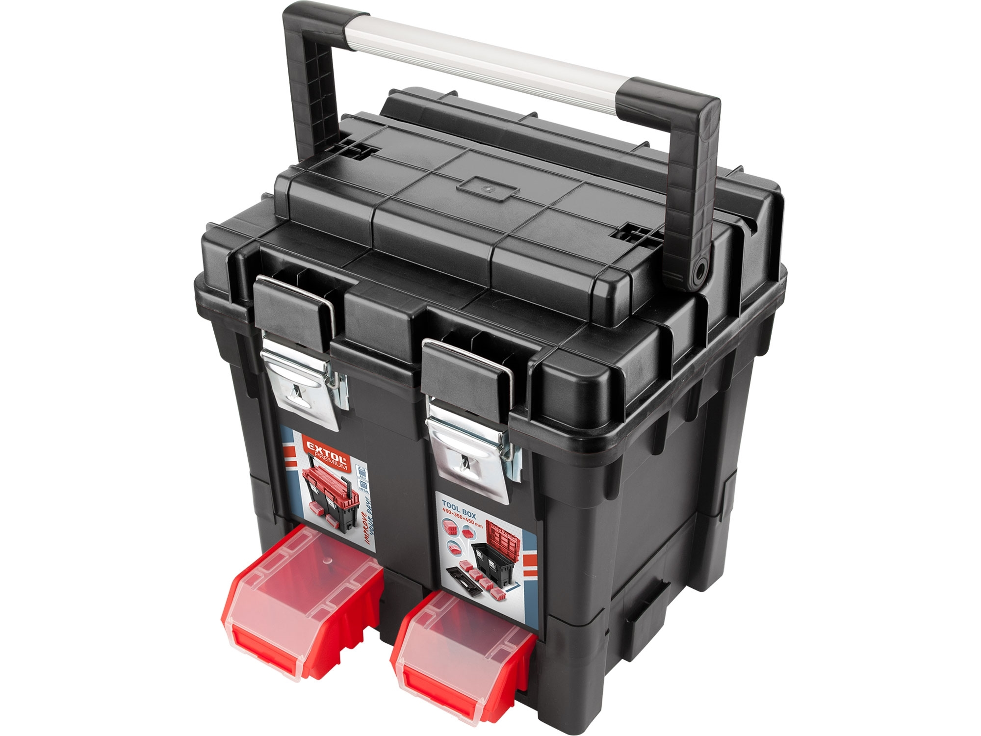 kufr na nářadí HD, 450x350x450mm, AL rukojeť, kov.přezky, EXTOL PREMIUM 8856083